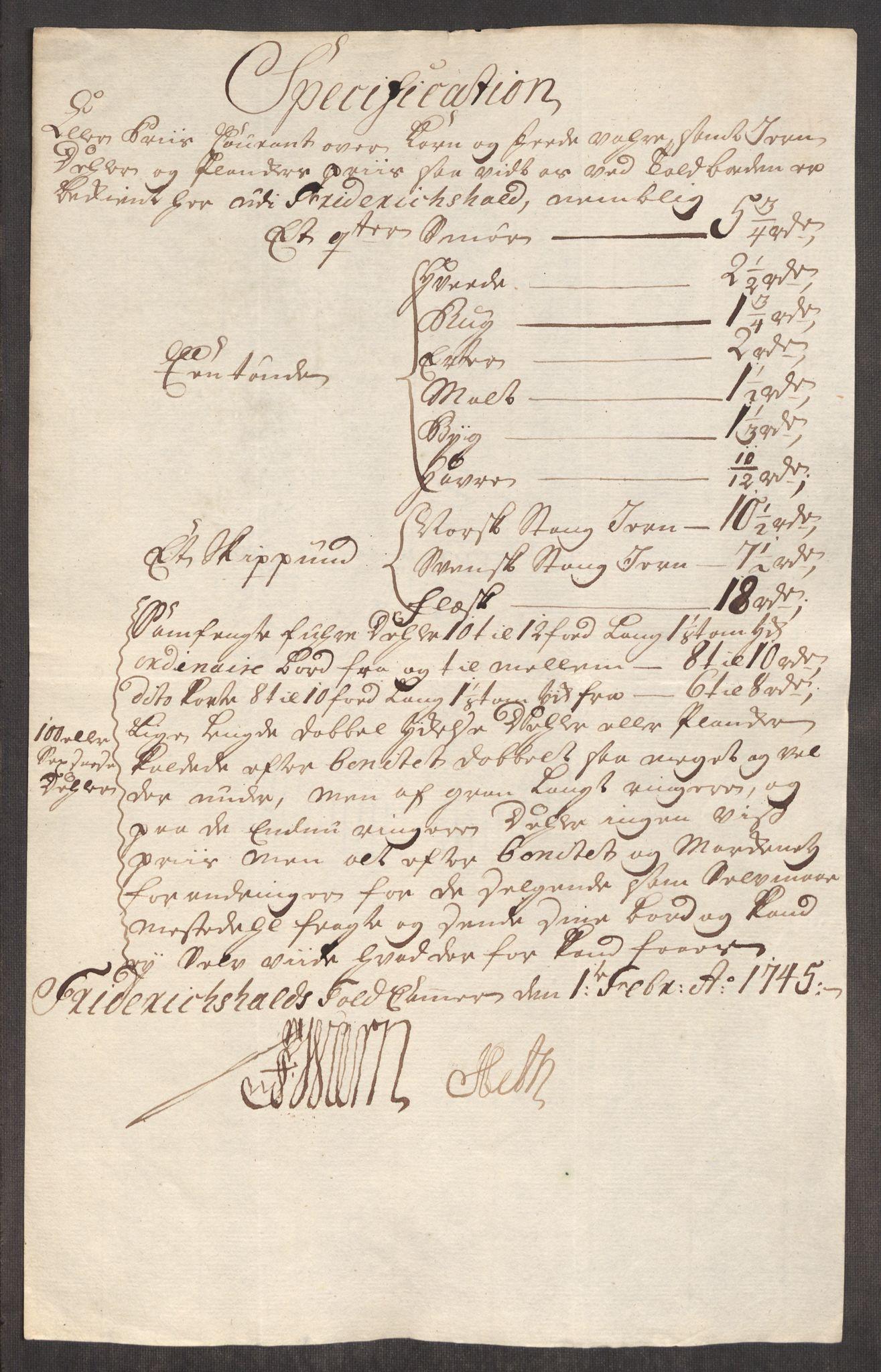 RA, Rentekammeret inntil 1814, Realistisk ordnet avdeling, Oe/L0003: [Ø1]: Priskuranter, 1745-1748, s. 5