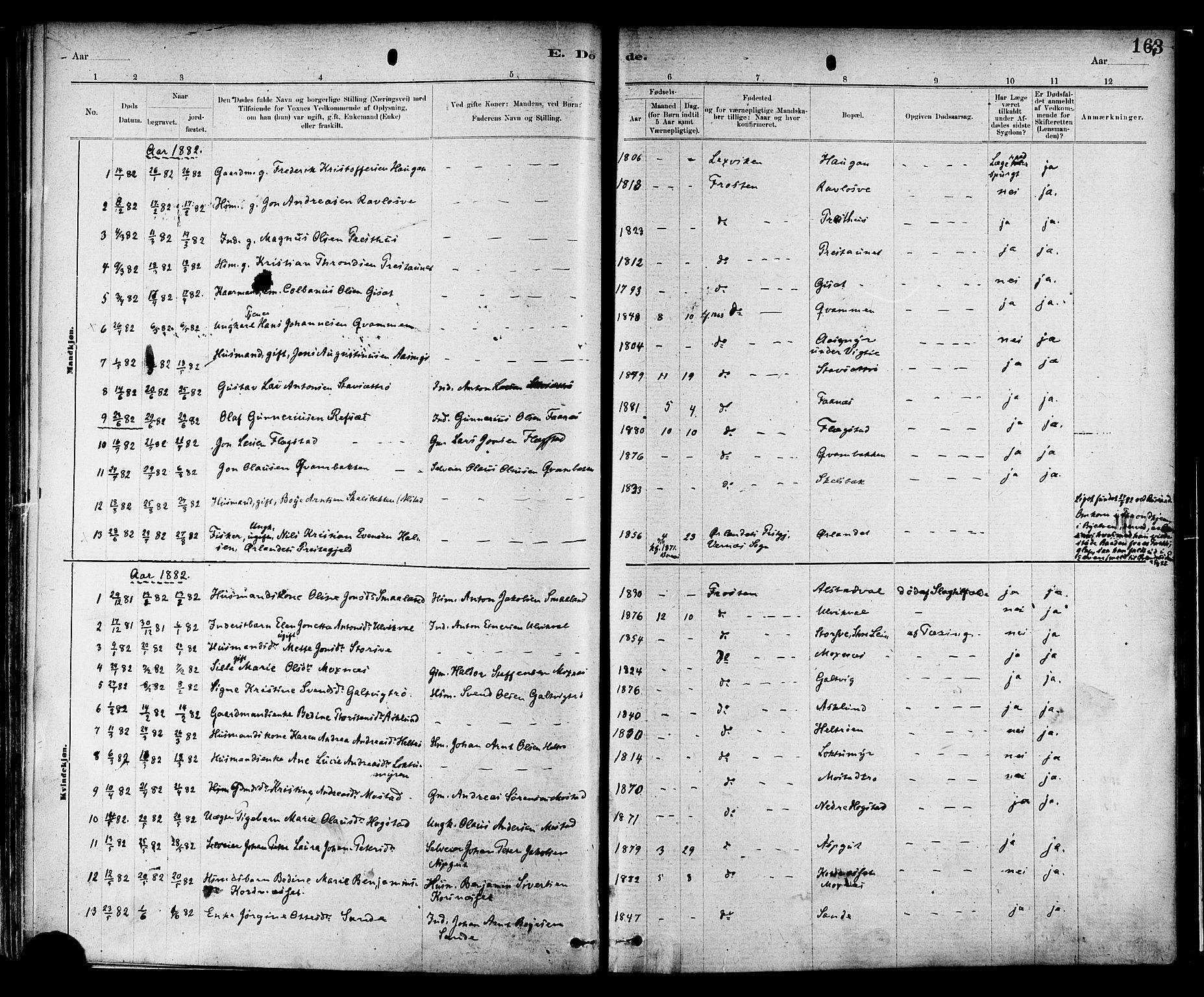 SAT, Ministerialprotokoller, klokkerbøker og fødselsregistre - Nord-Trøndelag, 713/L0120: Ministerialbok nr. 713A09, 1878-1887, s. 163