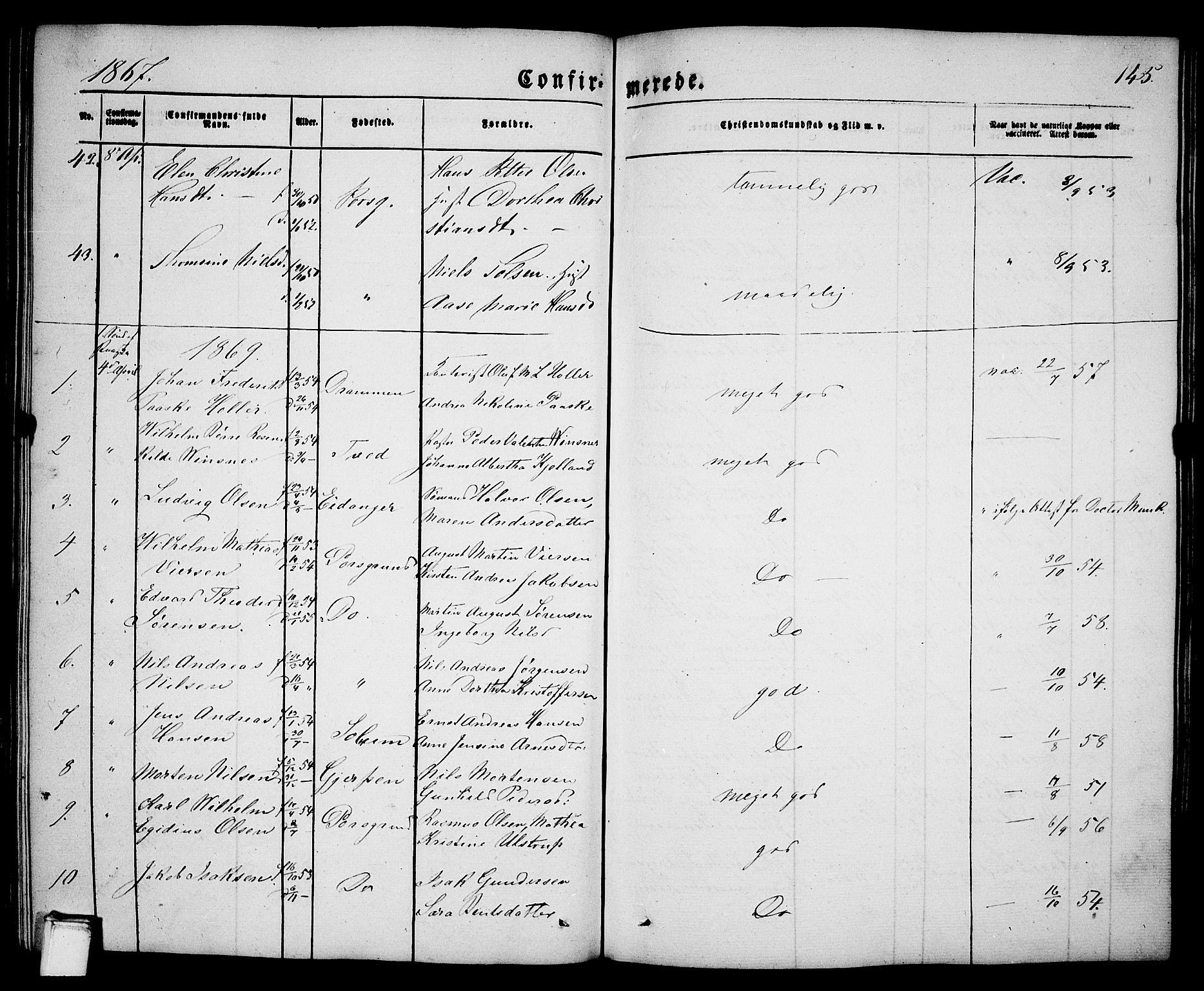 SAKO, Porsgrunn kirkebøker , G/Ga/L0002: Klokkerbok nr. I 2, 1847-1877, s. 145