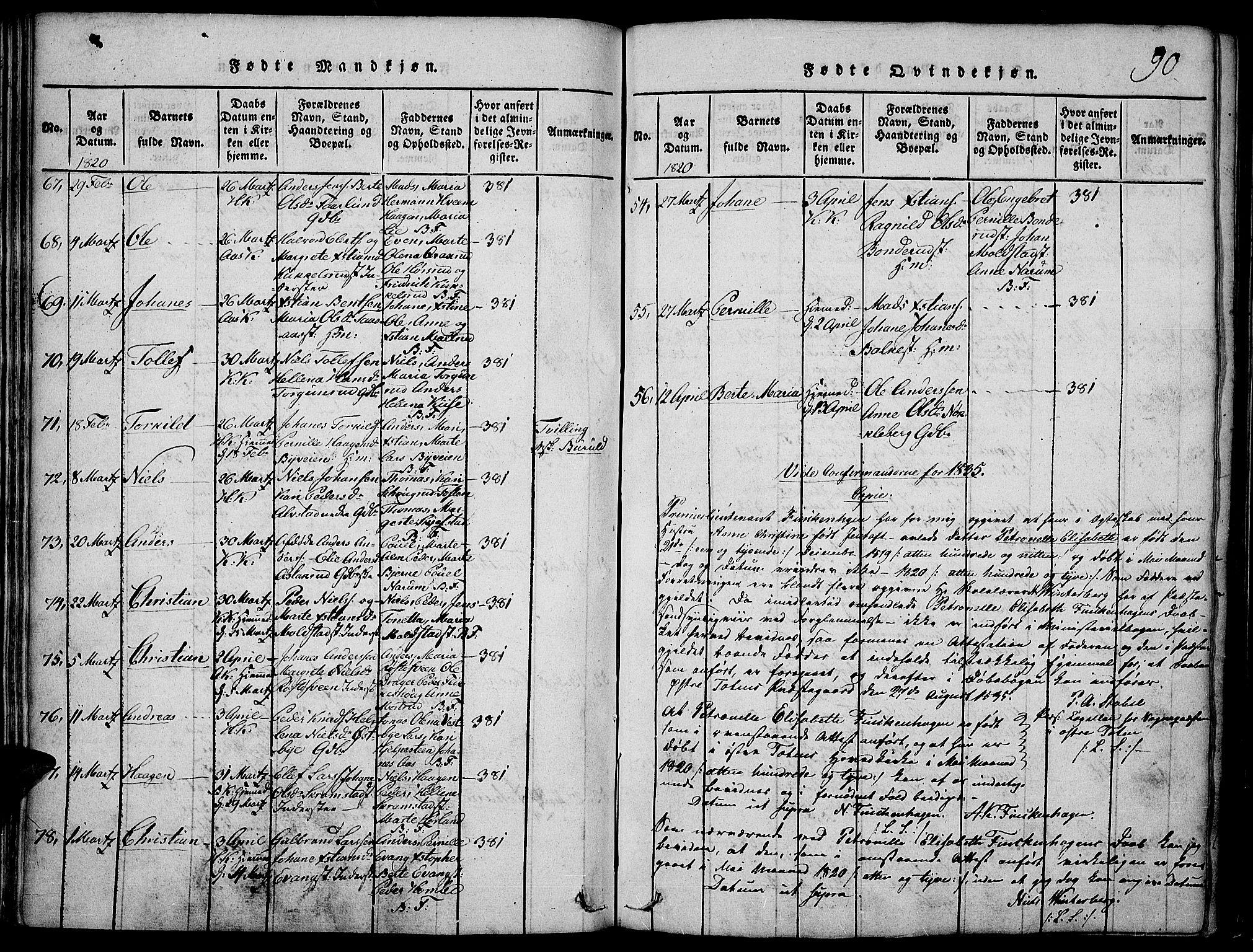 SAH, Toten prestekontor, Ministerialbok nr. 9, 1814-1820, s. 90