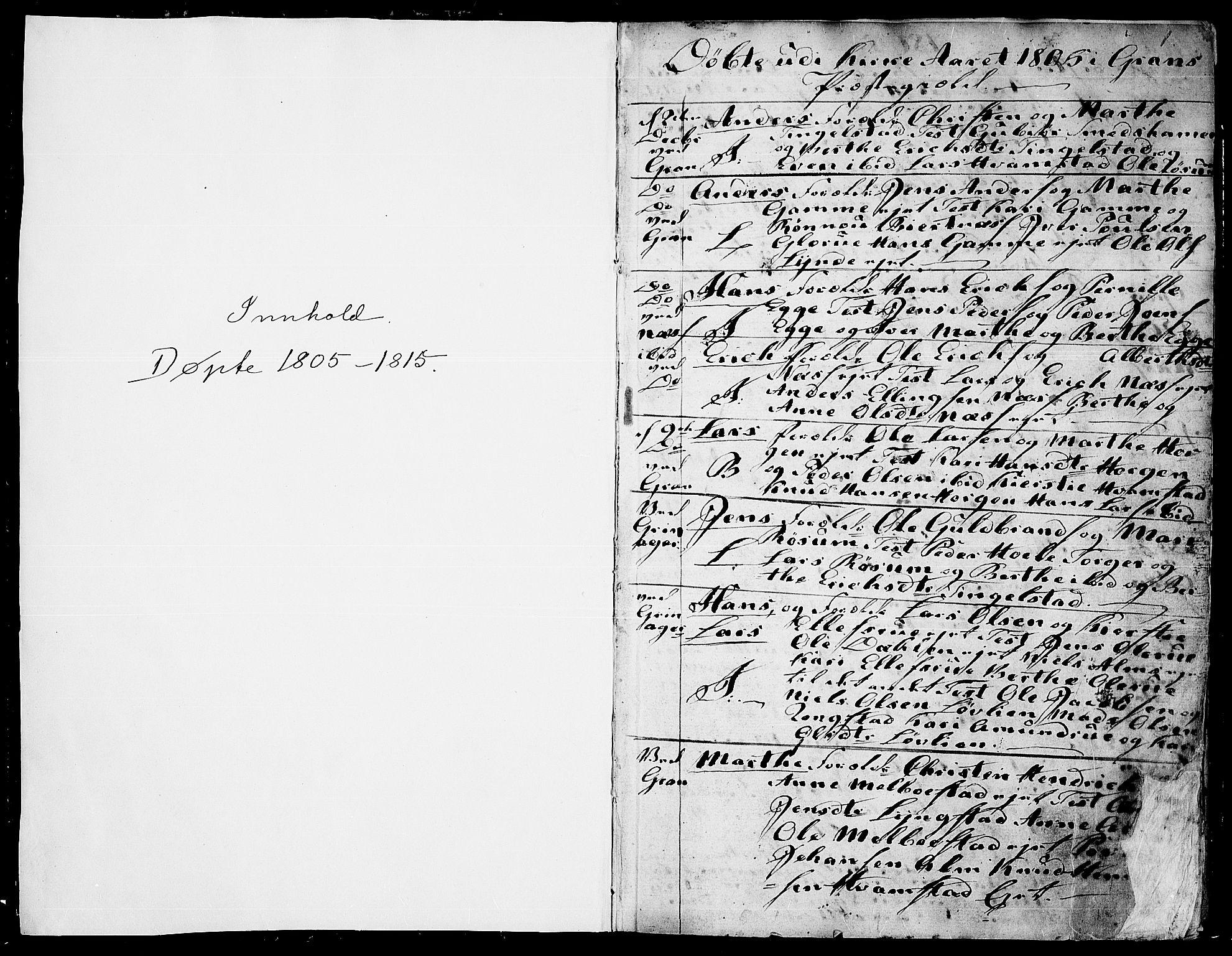 SAH, Gran prestekontor, Ministerialbok nr. 7, 1804-1815, s. 0-1