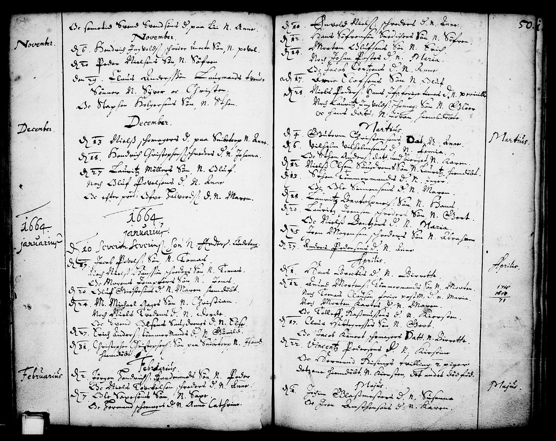 SAKO, Skien kirkebøker, F/Fa/L0001: Ministerialbok nr. 1, 1659-1679, s. 50