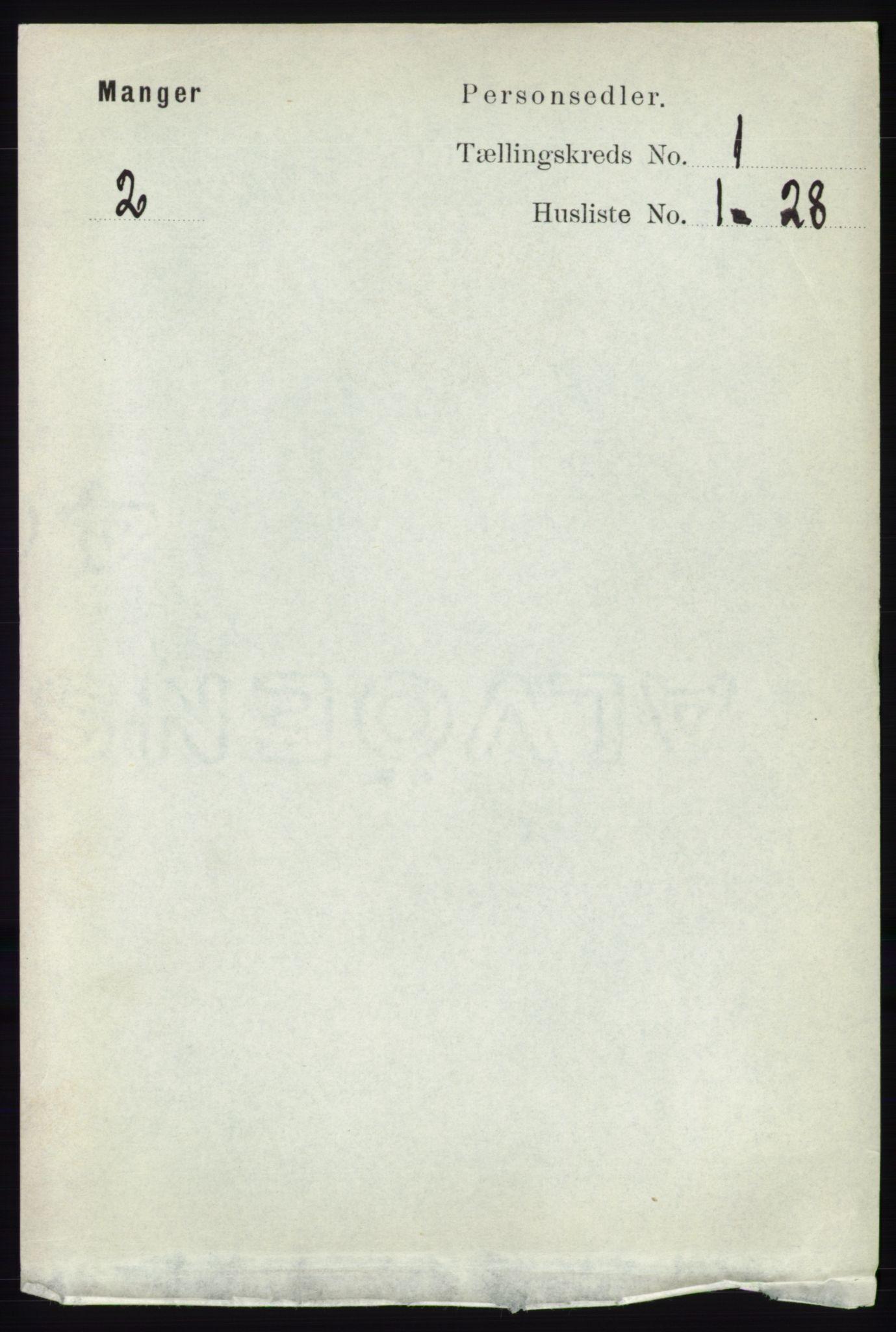 RA, Folketelling 1891 for 1261 Manger herred, 1891, s. 122