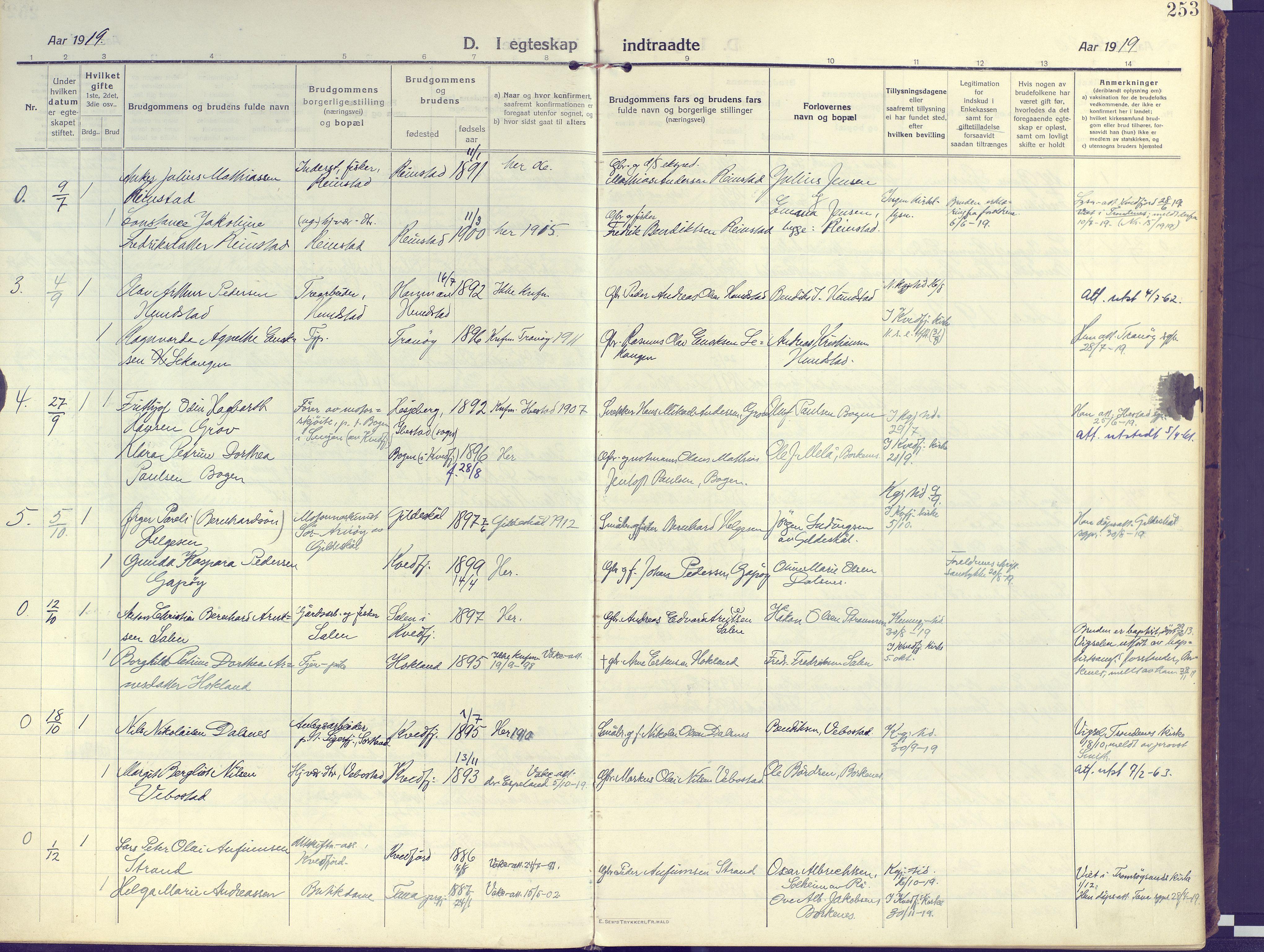 SATØ, Kvæfjord sokneprestkontor, G/Ga/Gaa/L0007kirke: Ministerialbok nr. 7, 1915-1931, s. 253