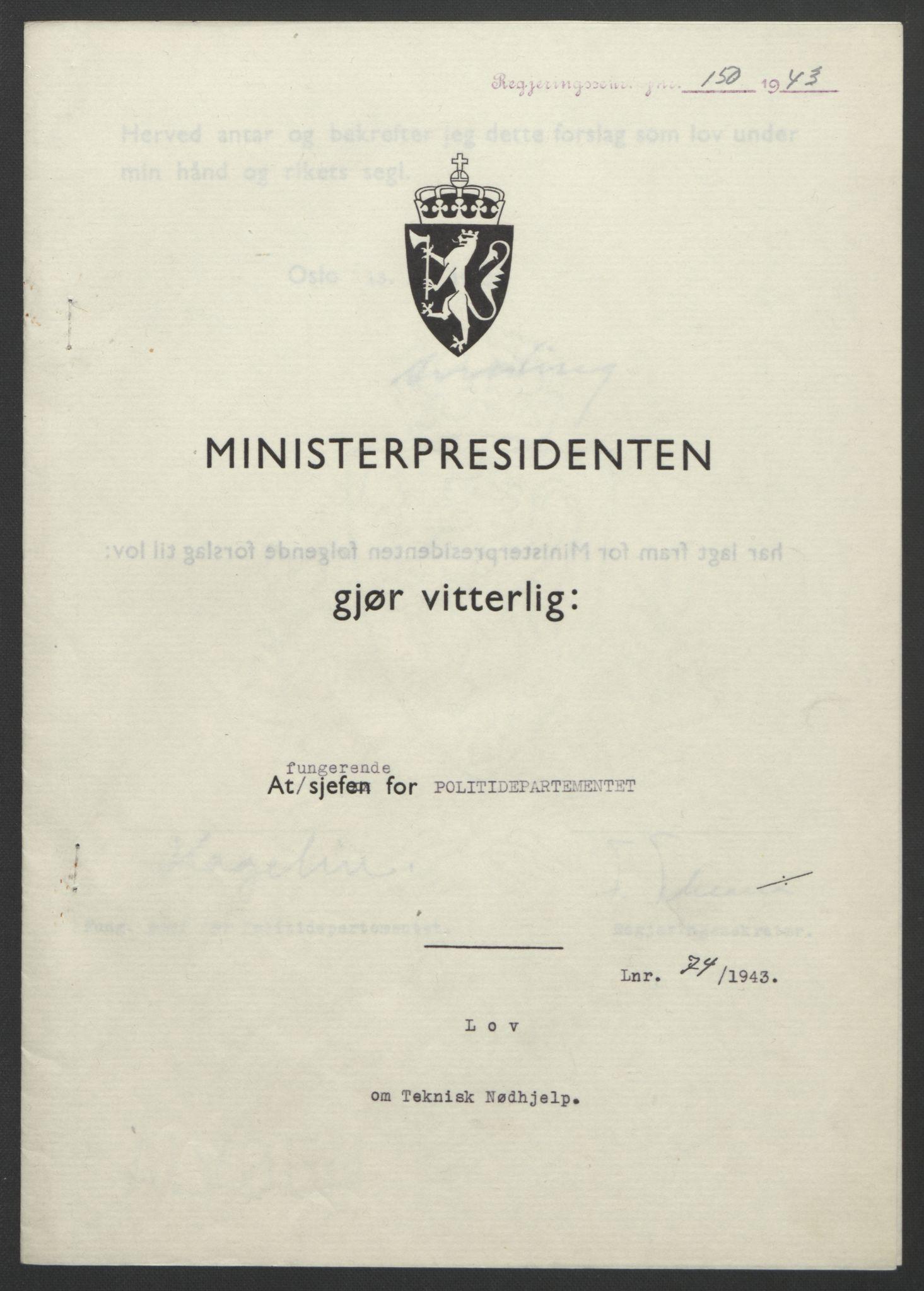 RA, NS-administrasjonen 1940-1945 (Statsrådsekretariatet, de kommisariske statsråder mm), D/Db/L0099: Lover, 1943, s. 336
