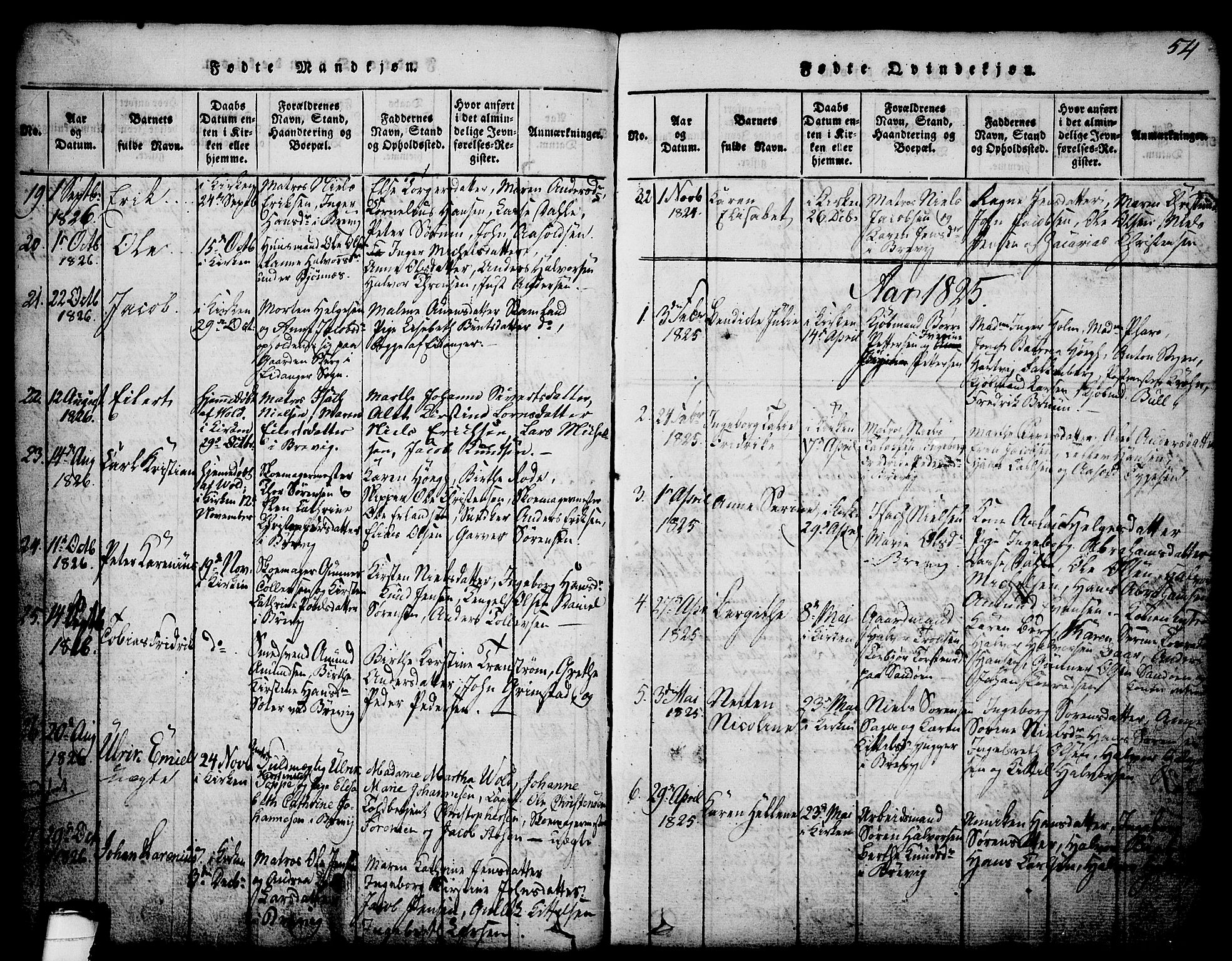 SAKO, Brevik kirkebøker, G/Ga/L0001: Klokkerbok nr. 1, 1814-1845, s. 54