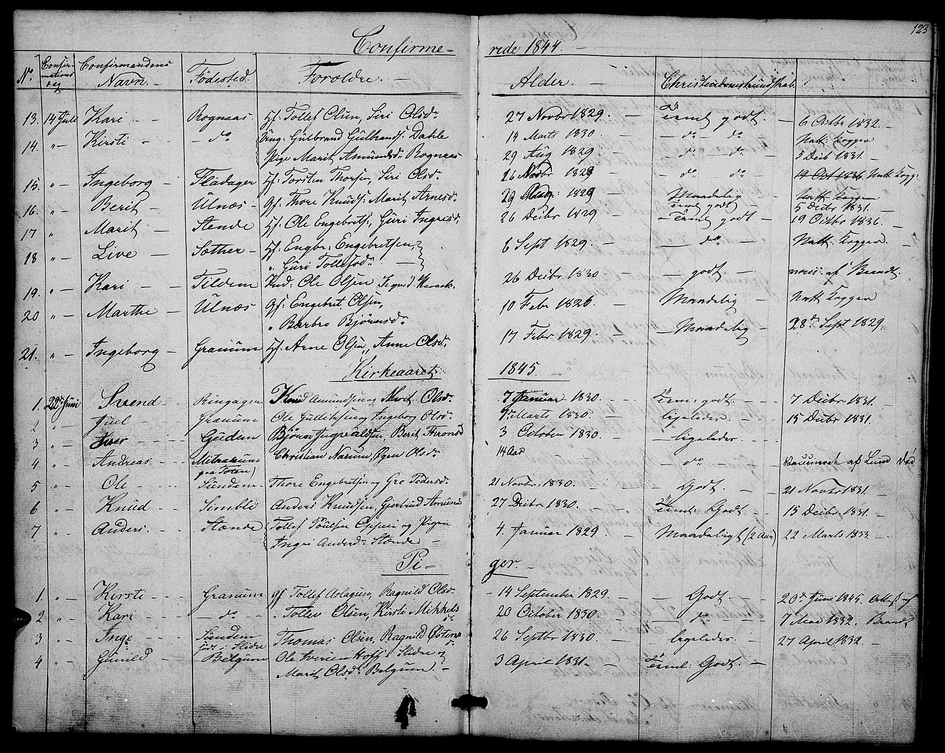 SAH, Nord-Aurdal prestekontor, Klokkerbok nr. 4, 1842-1882, s. 123