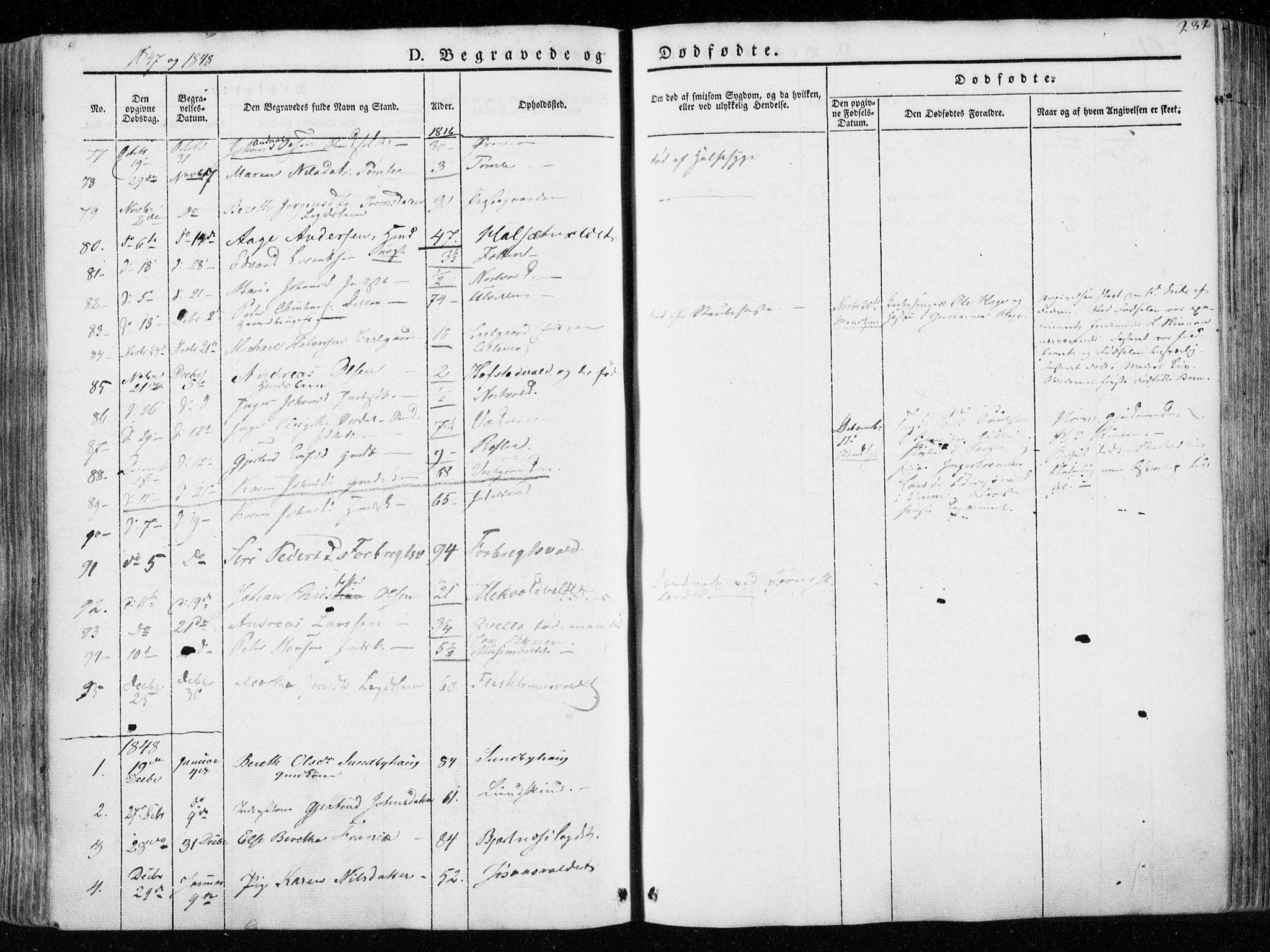 SAT, Ministerialprotokoller, klokkerbøker og fødselsregistre - Nord-Trøndelag, 723/L0239: Ministerialbok nr. 723A08, 1841-1851, s. 282