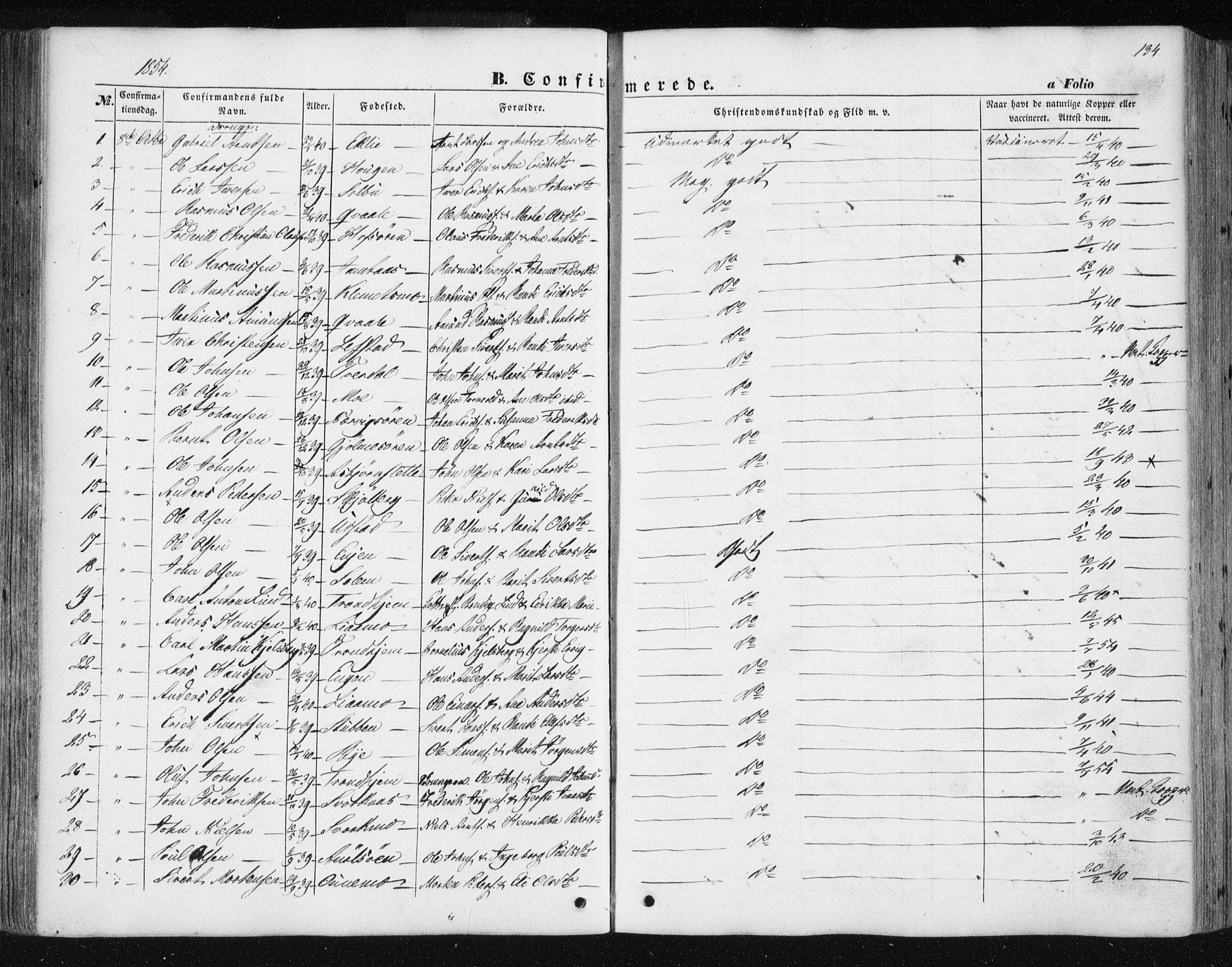 SAT, Ministerialprotokoller, klokkerbøker og fødselsregistre - Sør-Trøndelag, 668/L0806: Ministerialbok nr. 668A06, 1854-1869, s. 134