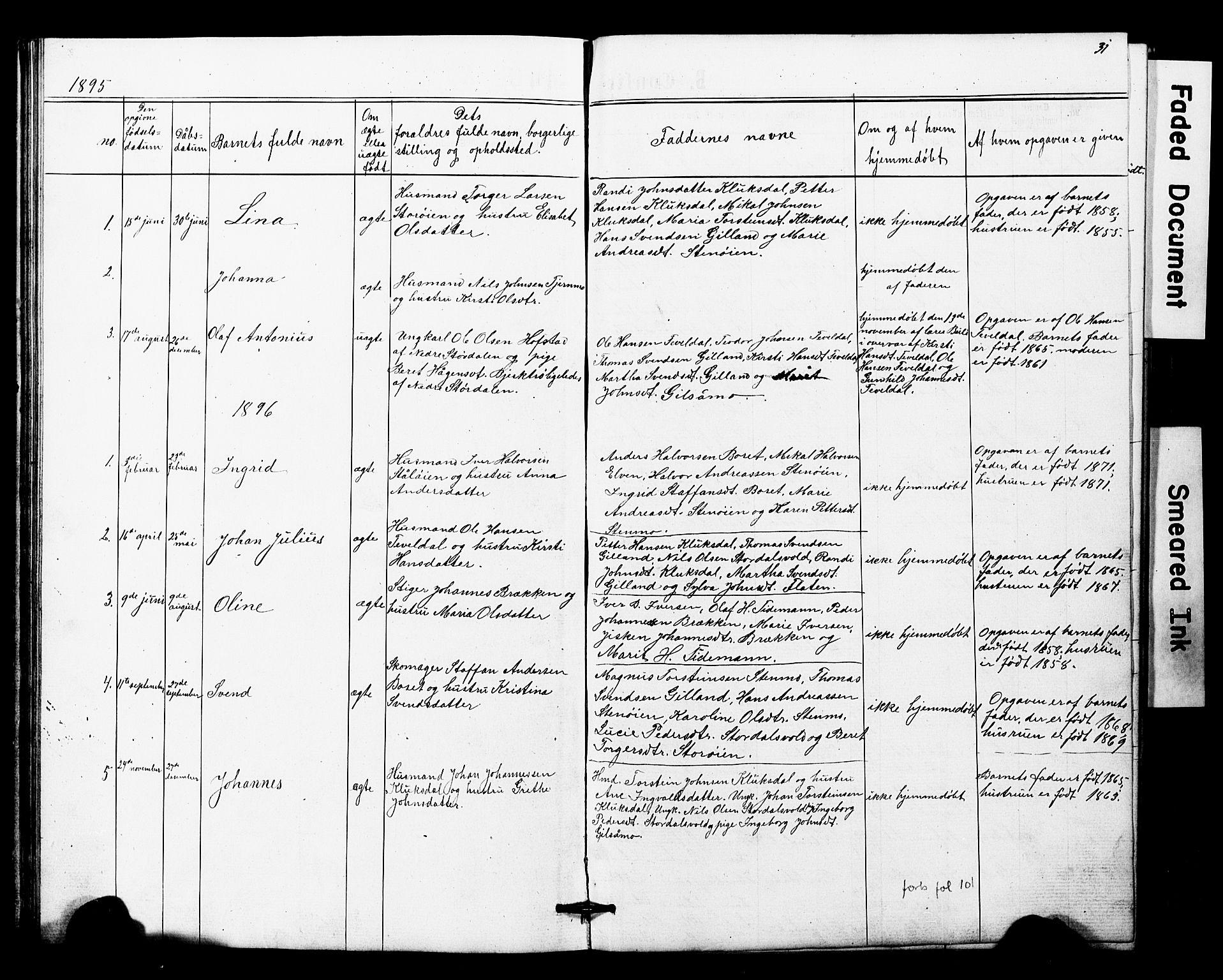 SAT, Ministerialprotokoller, klokkerbøker og fødselsregistre - Nord-Trøndelag, 707/L0052: Klokkerbok nr. 707C01, 1864-1897, s. 31