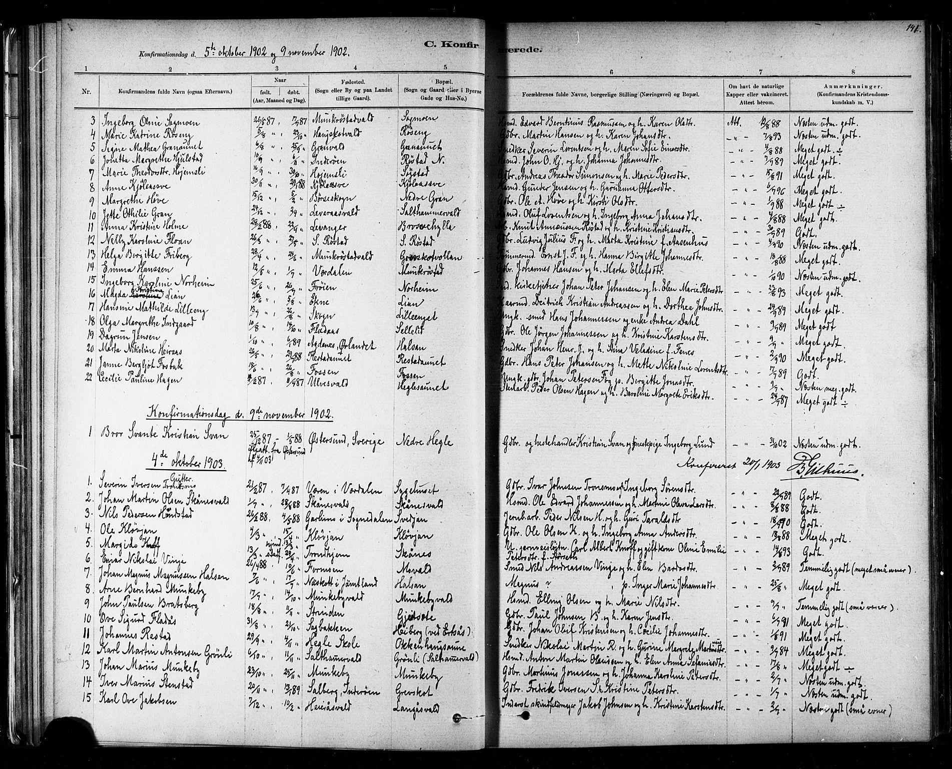 SAT, Ministerialprotokoller, klokkerbøker og fødselsregistre - Nord-Trøndelag, 721/L0208: Klokkerbok nr. 721C01, 1880-1917, s. 141