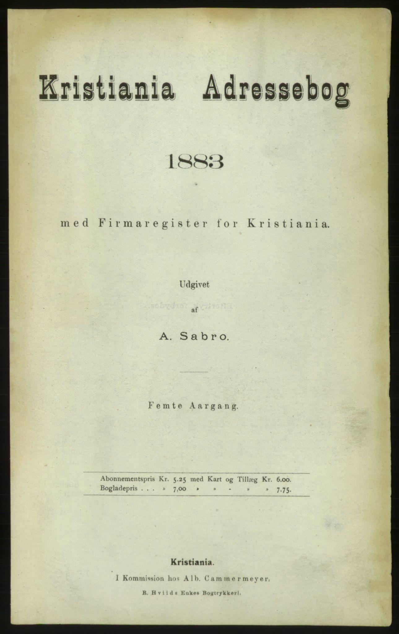 PUBL, Kristiania/Oslo adressebok, 1883