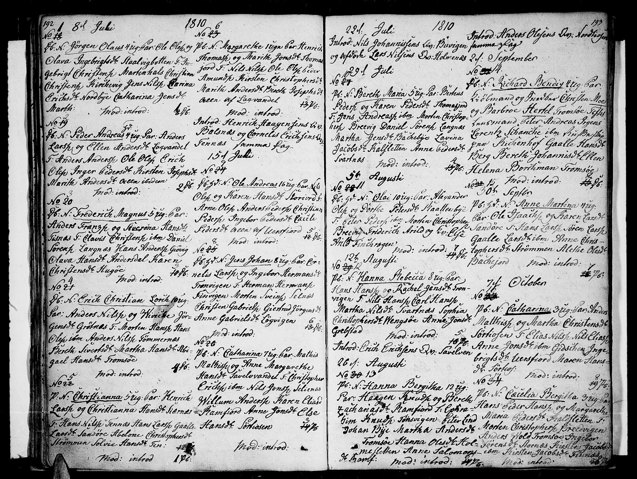 SATØ, Tromsø sokneprestkontor/stiftsprosti/domprosti, G/Ga/L0006kirke: Ministerialbok nr. 6, 1806-1821, s. 192-193