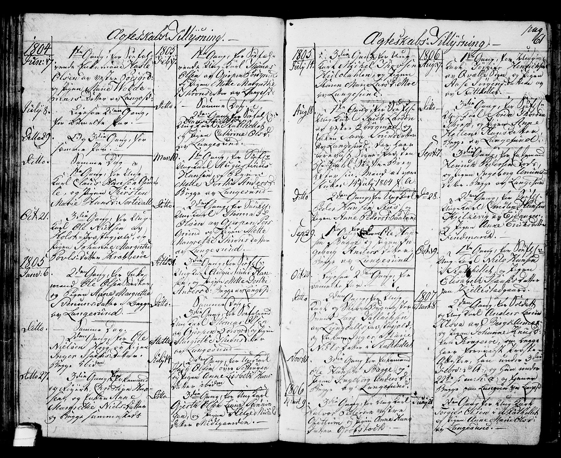 SAKO, Langesund kirkebøker, G/Ga/L0002: Klokkerbok nr. 2, 1801-1815, s. 61
