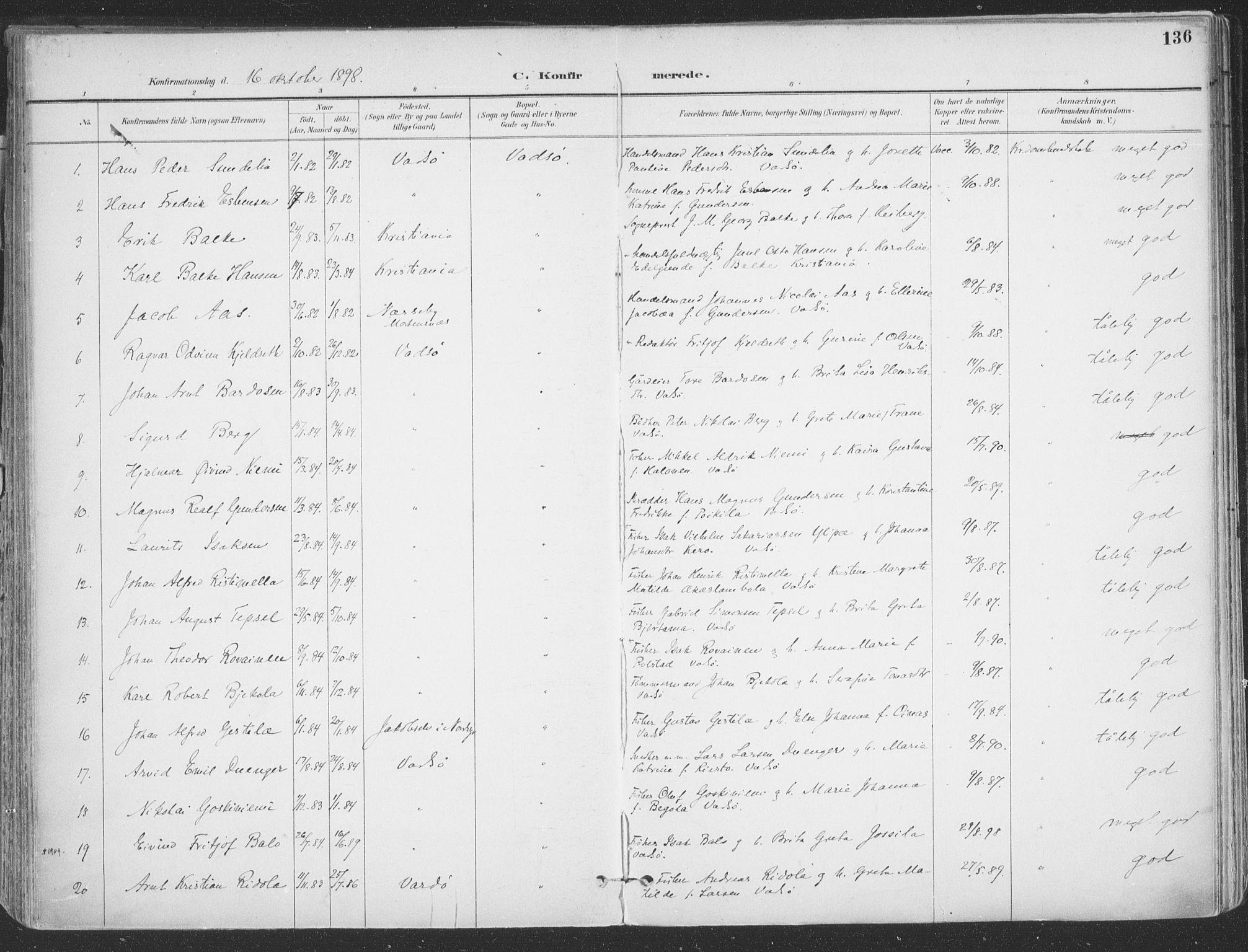 SATØ, Vadsø sokneprestkontor, H/Ha/L0007kirke: Ministerialbok nr. 7, 1896-1916, s. 136
