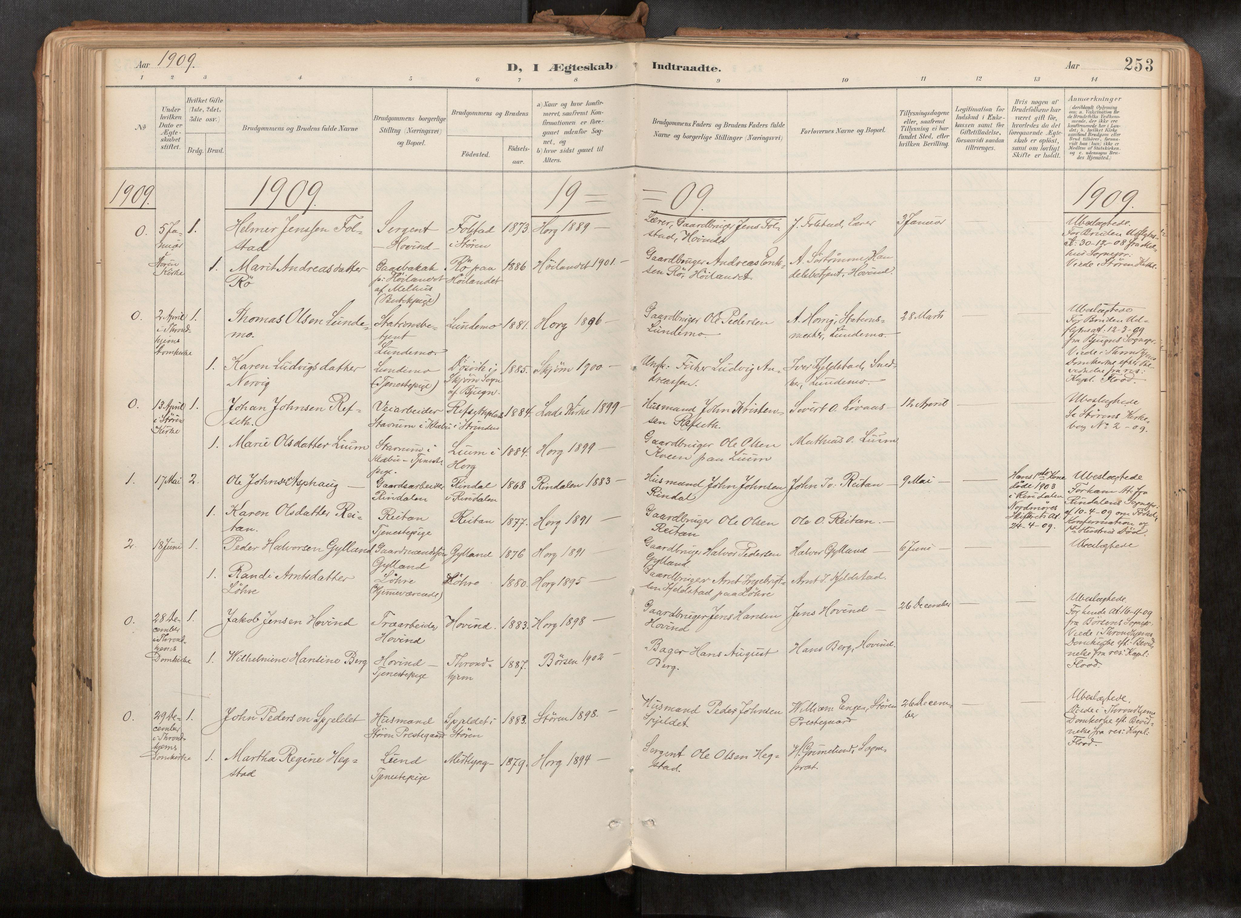 SAT, Ministerialprotokoller, klokkerbøker og fødselsregistre - Sør-Trøndelag, 692/L1105b: Ministerialbok nr. 692A06, 1891-1934, s. 253