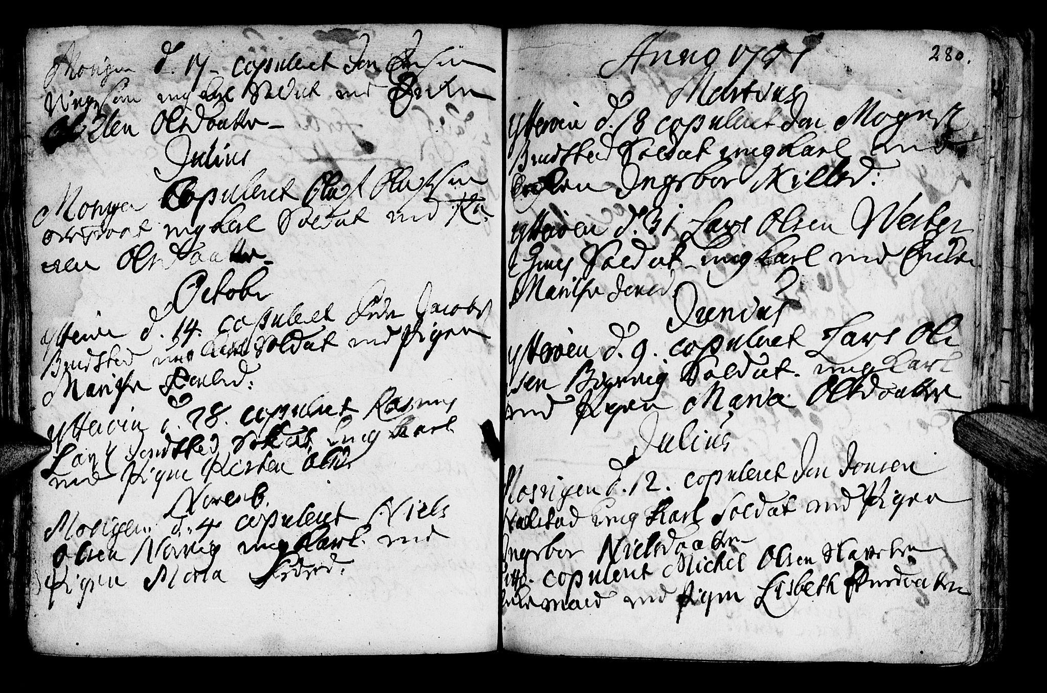 SAT, Ministerialprotokoller, klokkerbøker og fødselsregistre - Nord-Trøndelag, 722/L0215: Ministerialbok nr. 722A02, 1718-1755, s. 280