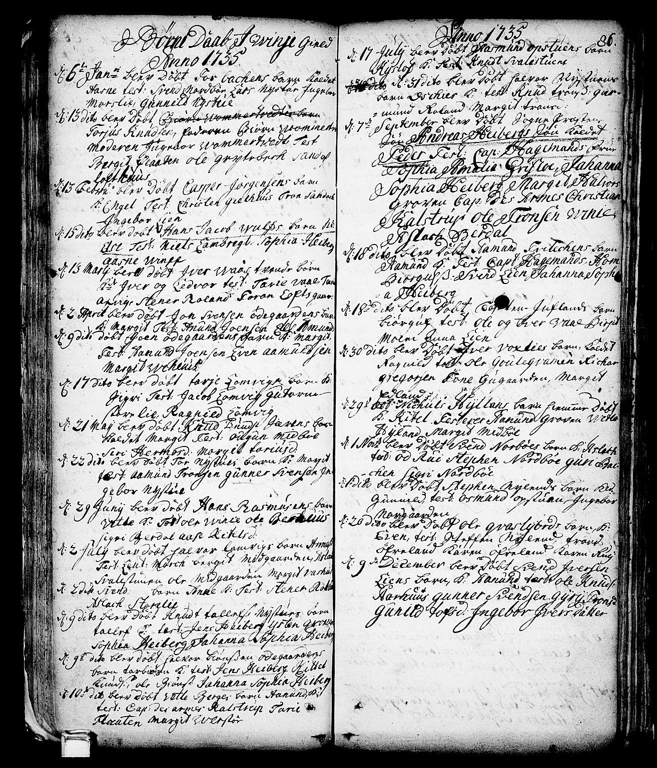 SAKO, Vinje kirkebøker, F/Fa/L0001: Ministerialbok nr. I 1, 1717-1766, s. 86