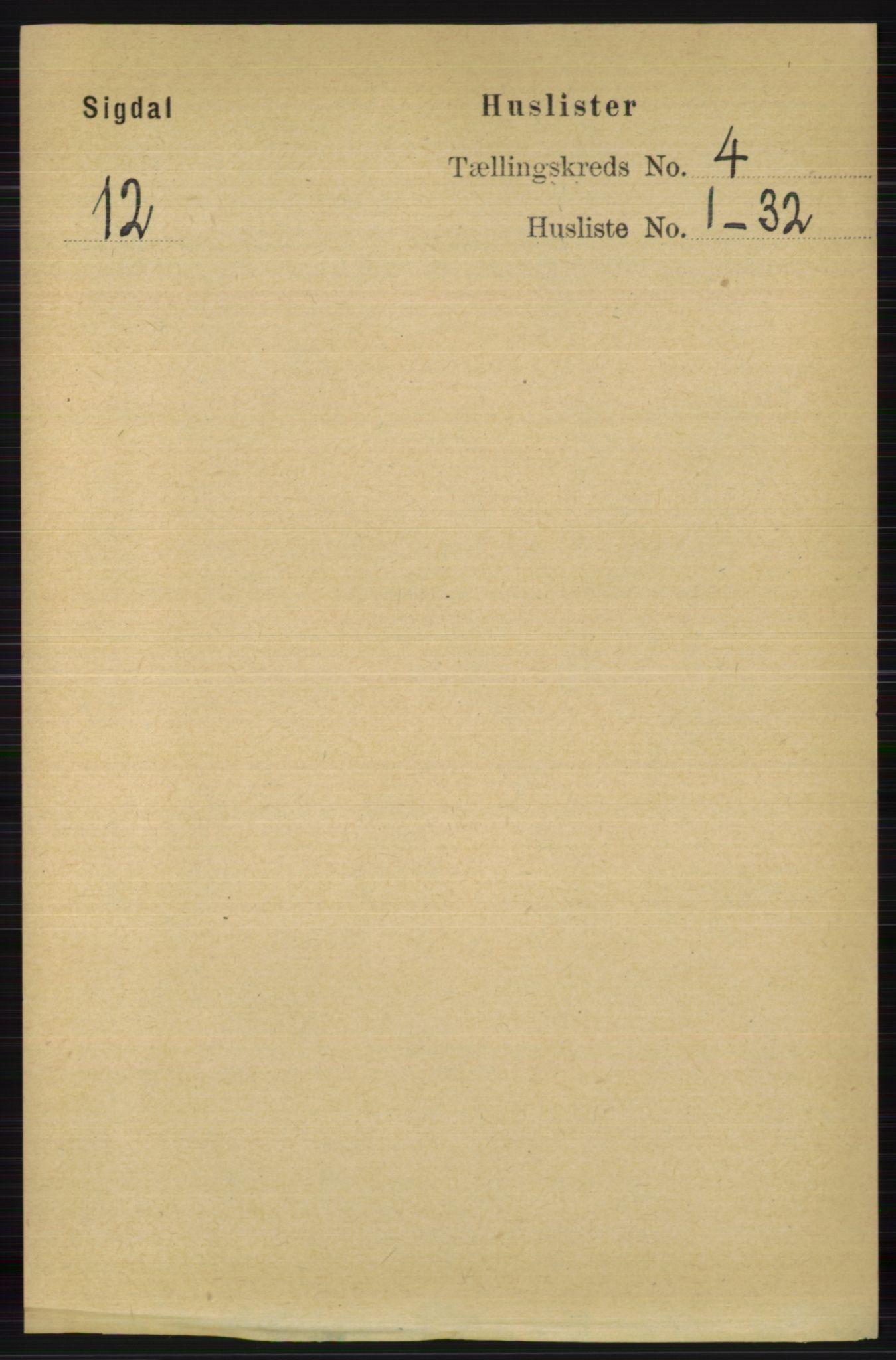 RA, Folketelling 1891 for 0621 Sigdal herred, 1891, s. 1614