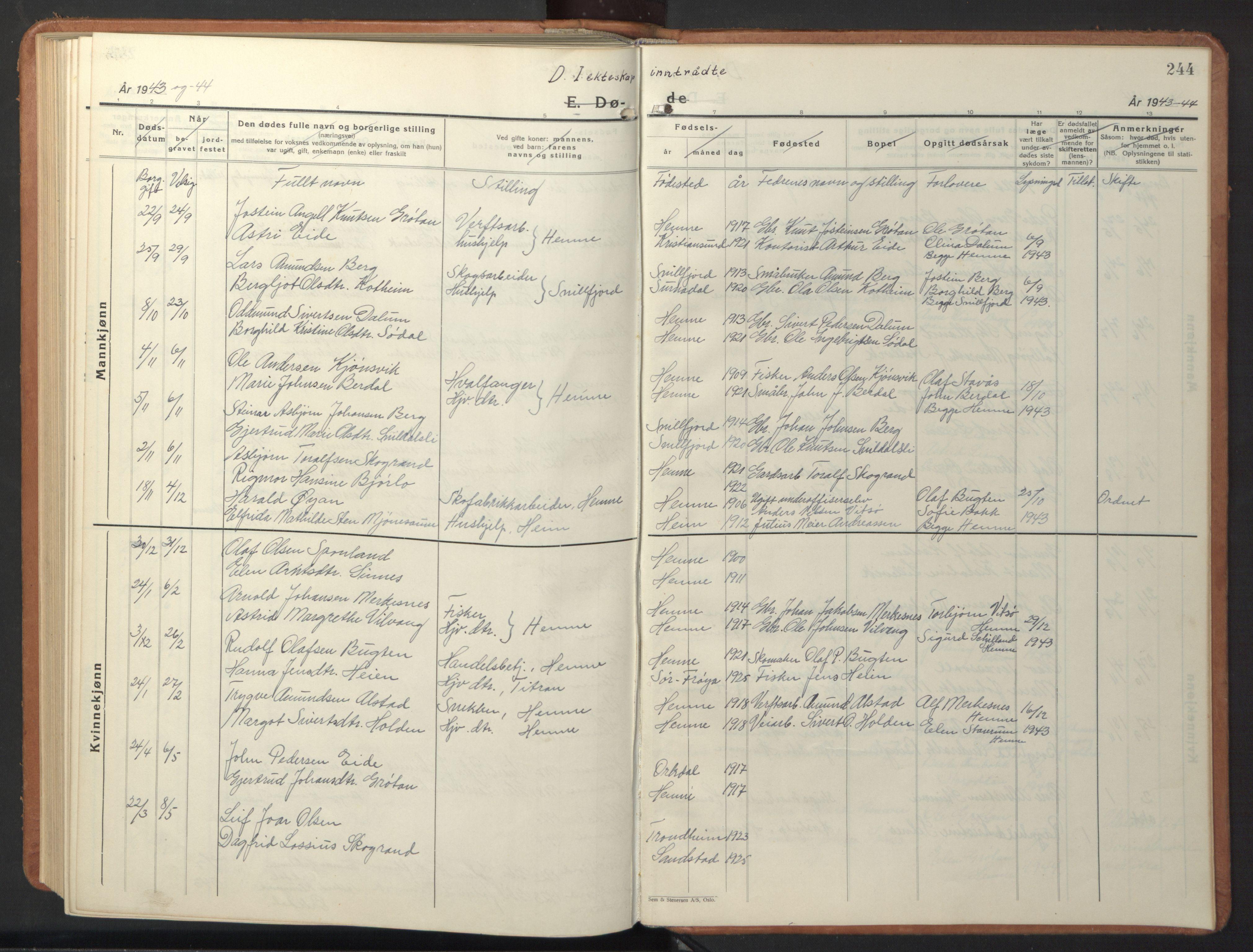 SAT, Ministerialprotokoller, klokkerbøker og fødselsregistre - Sør-Trøndelag, 630/L0508: Klokkerbok nr. 630C06, 1933-1950, s. 244
