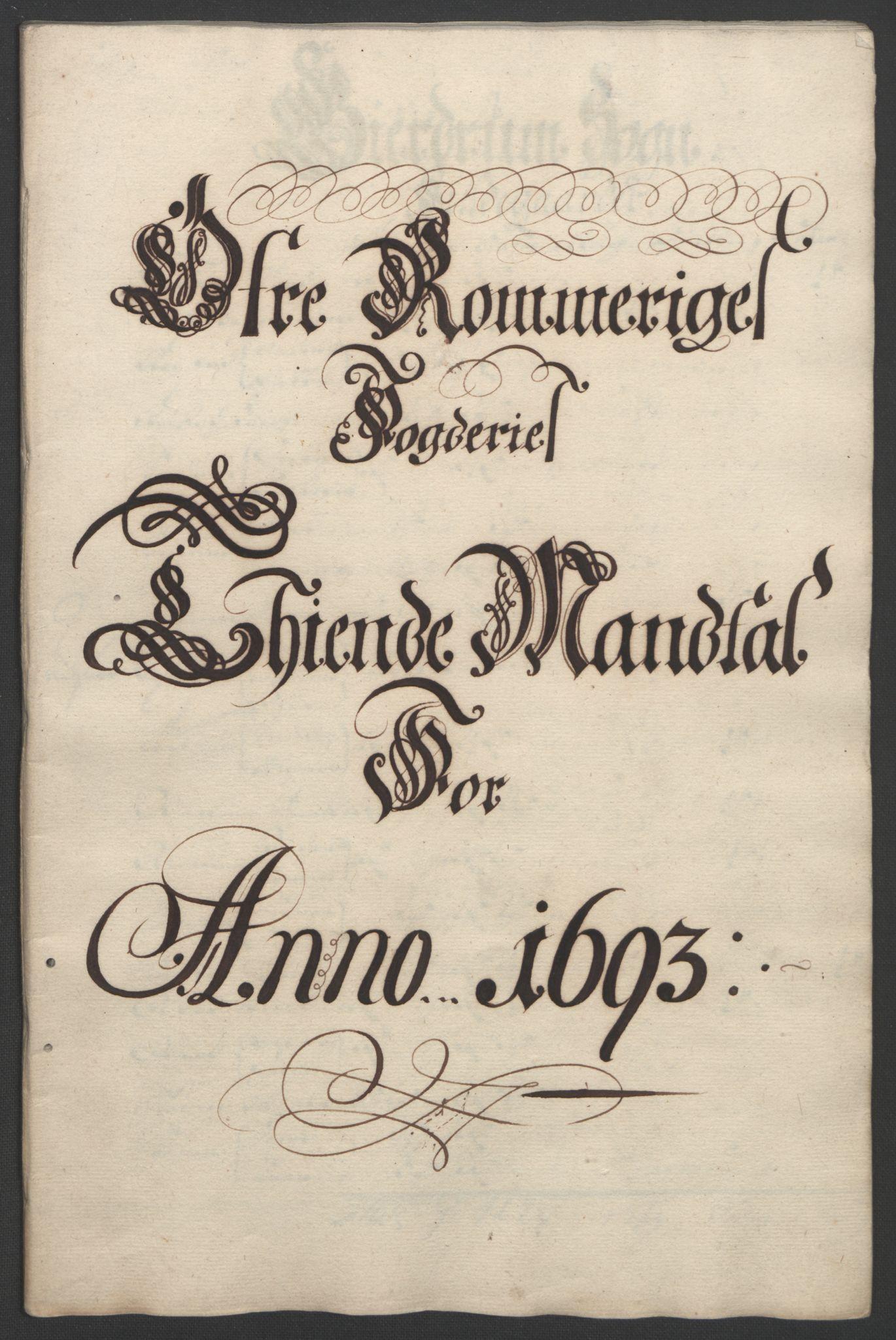 RA, Rentekammeret inntil 1814, Reviderte regnskaper, Fogderegnskap, R12/L0705: Fogderegnskap Øvre Romerike, 1693, s. 40