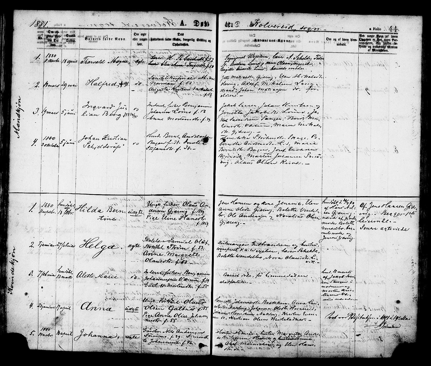 SAT, Ministerialprotokoller, klokkerbøker og fødselsregistre - Nord-Trøndelag, 780/L0642: Ministerialbok nr. 780A07 /1, 1874-1885, s. 44