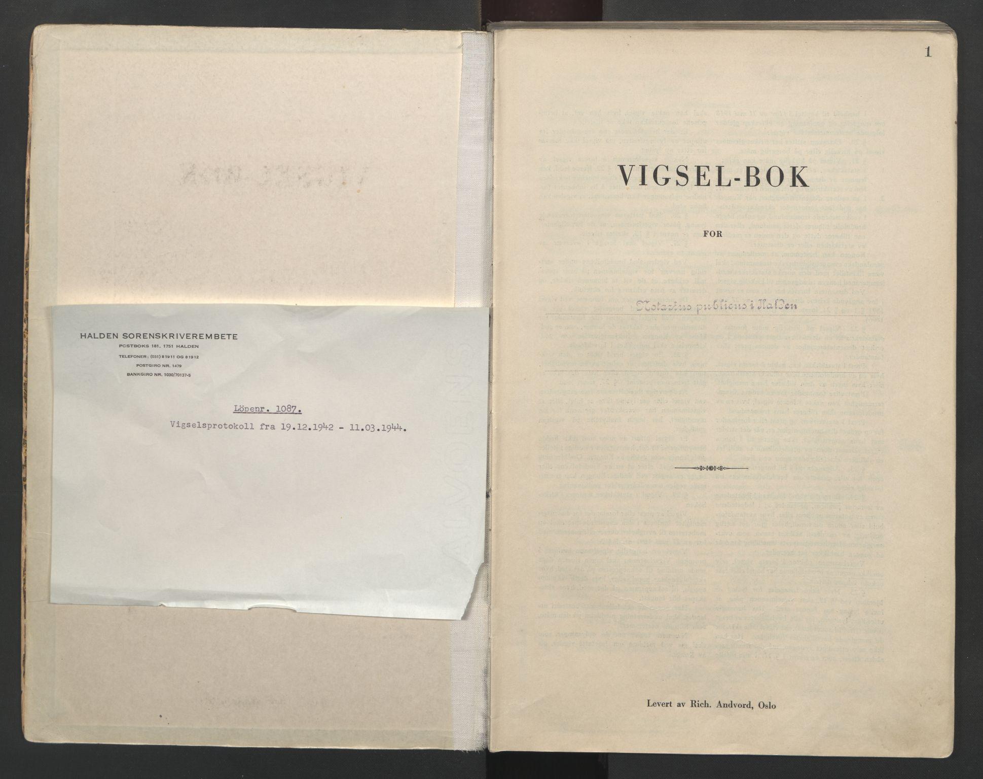 SAO, Idd og Marker sorenskriveri, L/Lc/L0001: Vigselsbøker, 1942-1944, s. 1