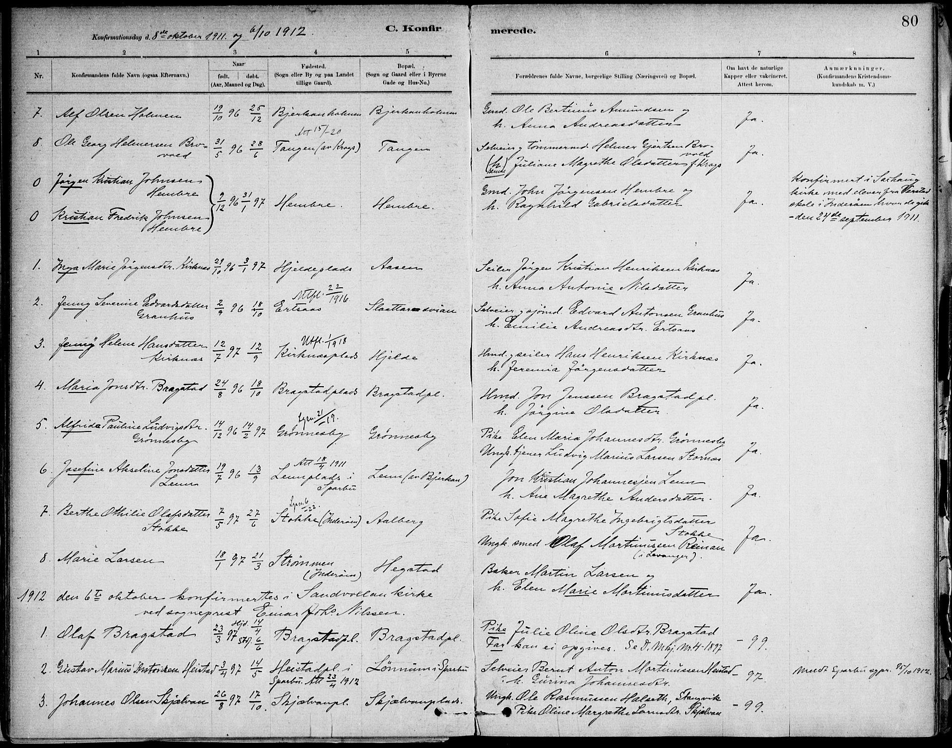SAT, Ministerialprotokoller, klokkerbøker og fødselsregistre - Nord-Trøndelag, 732/L0316: Ministerialbok nr. 732A01, 1879-1921, s. 80