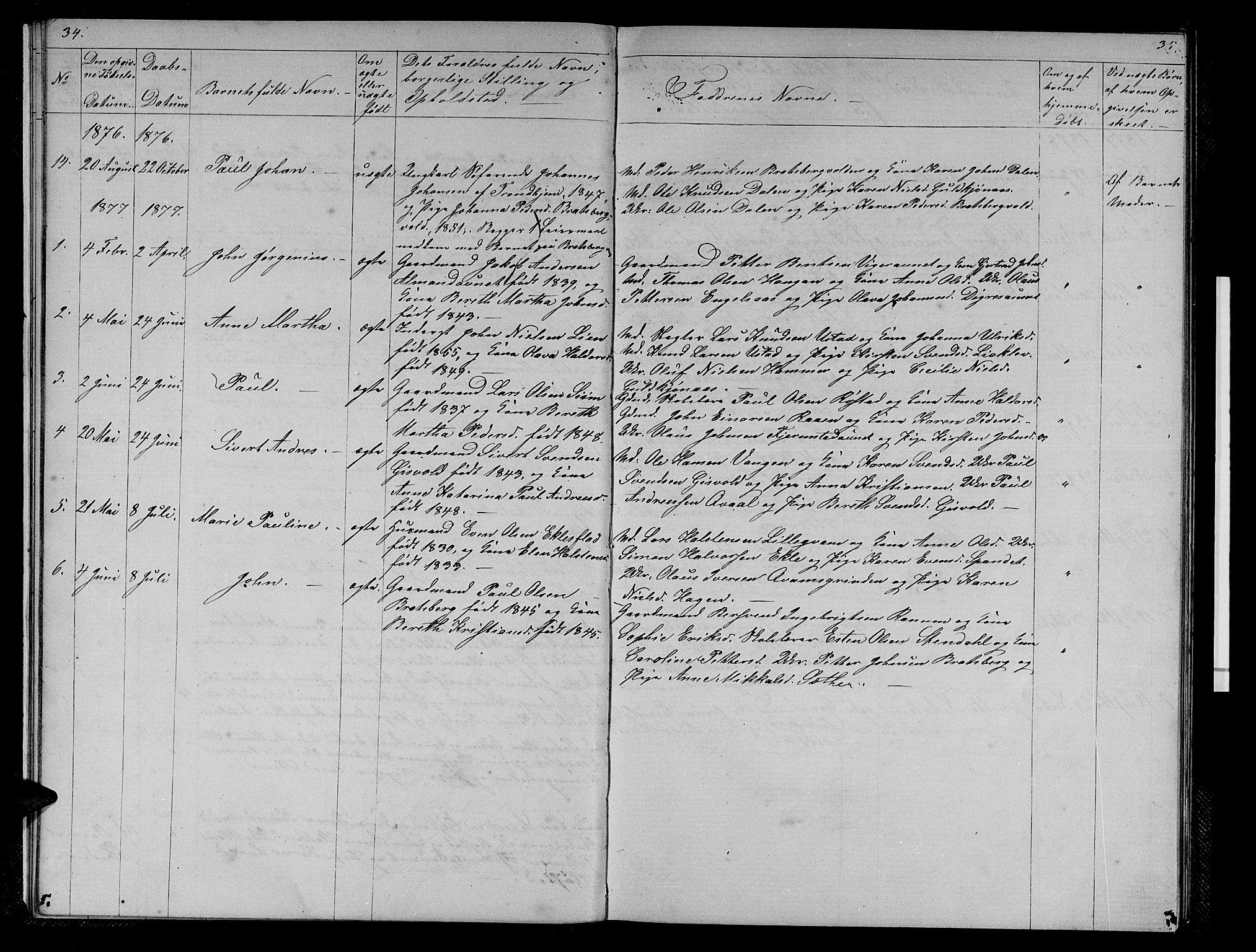 SAT, Ministerialprotokoller, klokkerbøker og fødselsregistre - Sør-Trøndelag, 608/L0340: Klokkerbok nr. 608C06, 1864-1889, s. 34-35