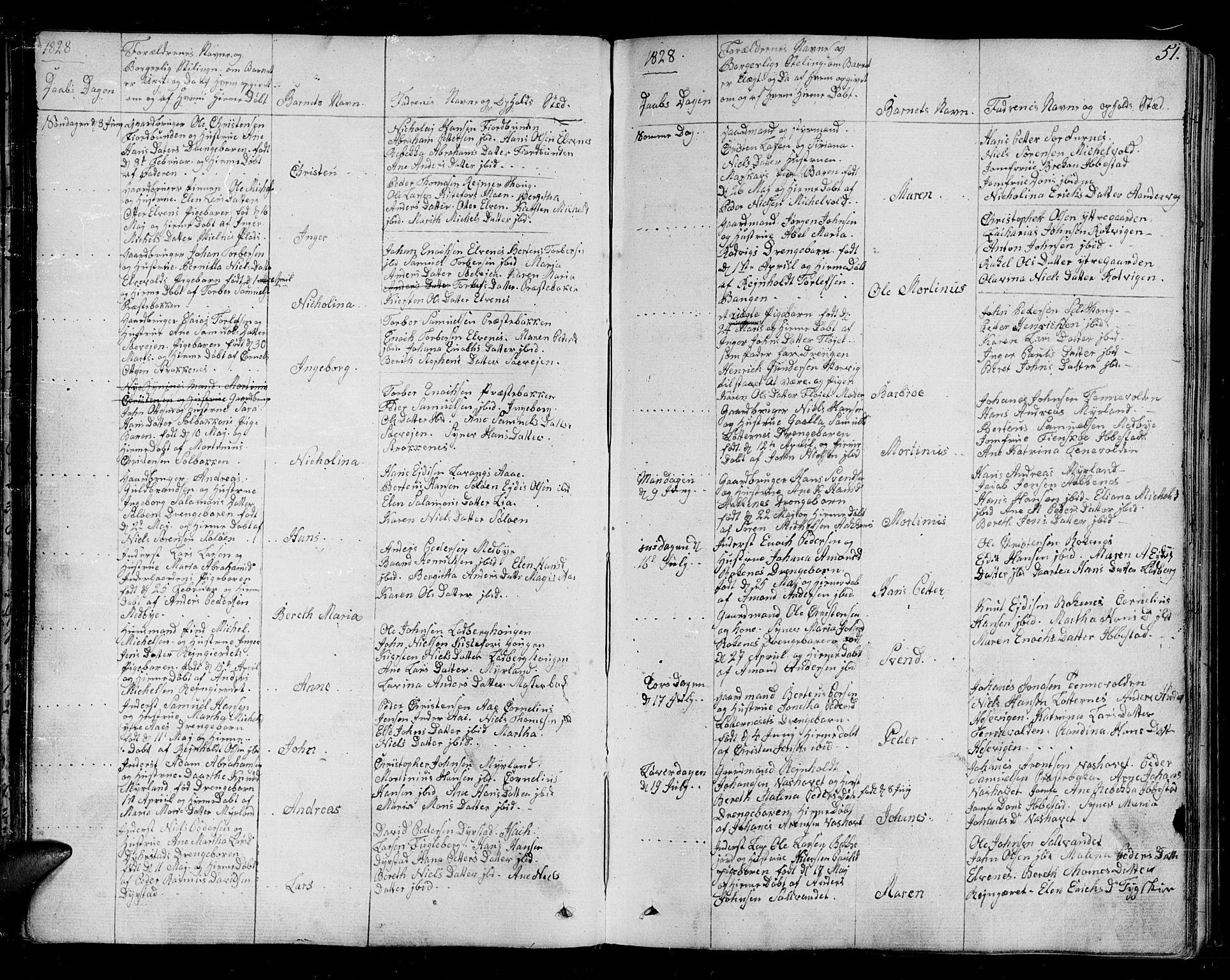SATØ, Ibestad sokneprestembete, H/Ha/Haa/L0005kirke: Ministerialbok nr. 5, 1825-1836, s. 51