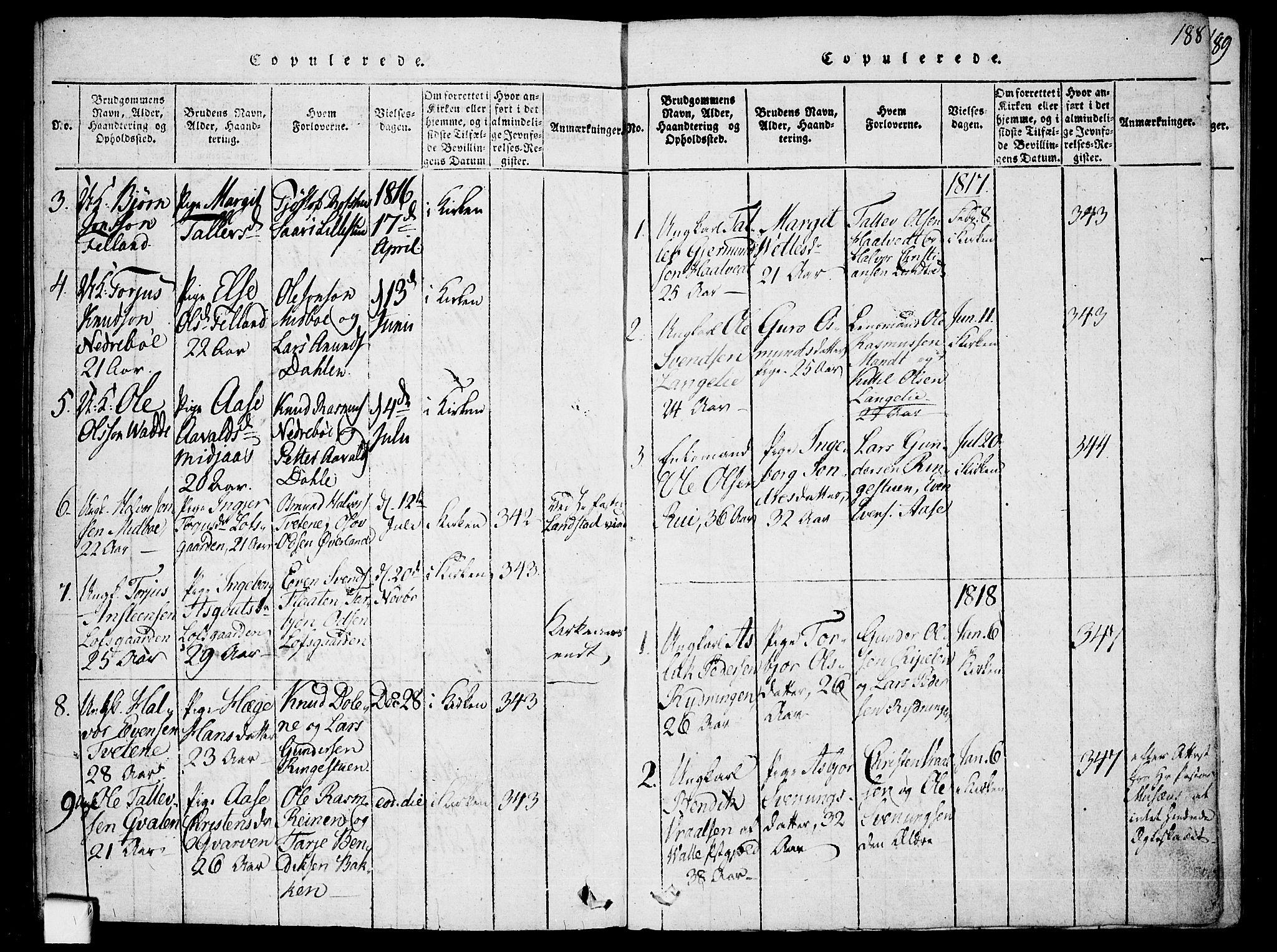 SAKO, Mo kirkebøker, F/Fa/L0004: Ministerialbok nr. I 4, 1814-1844, s. 188