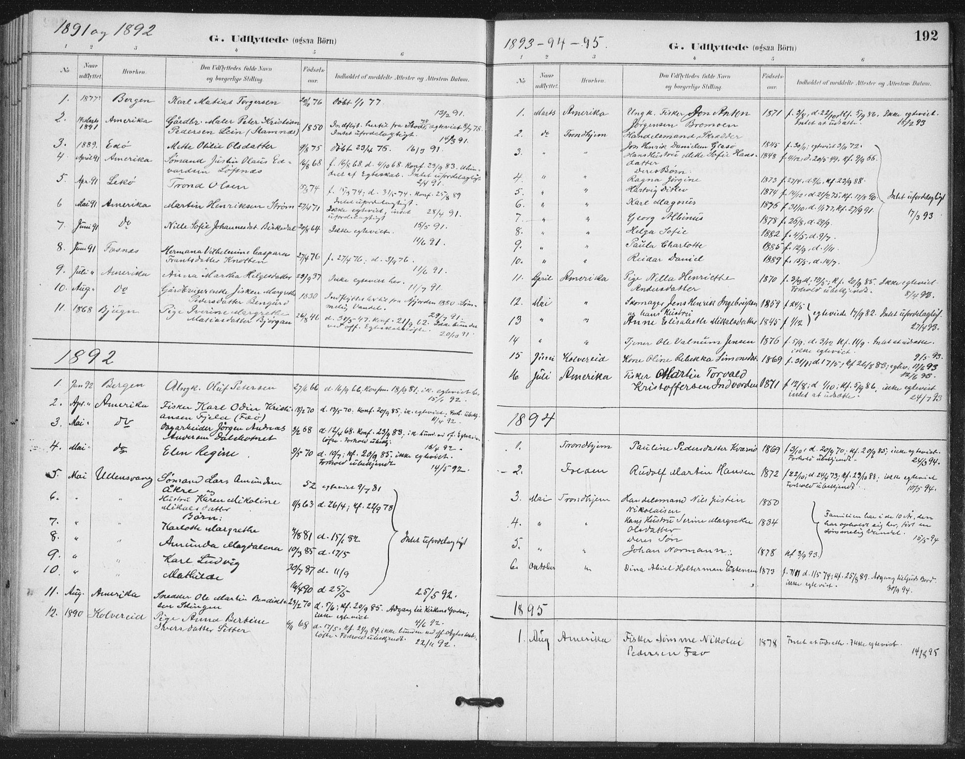 SAT, Ministerialprotokoller, klokkerbøker og fødselsregistre - Nord-Trøndelag, 772/L0603: Ministerialbok nr. 772A01, 1885-1912, s. 192