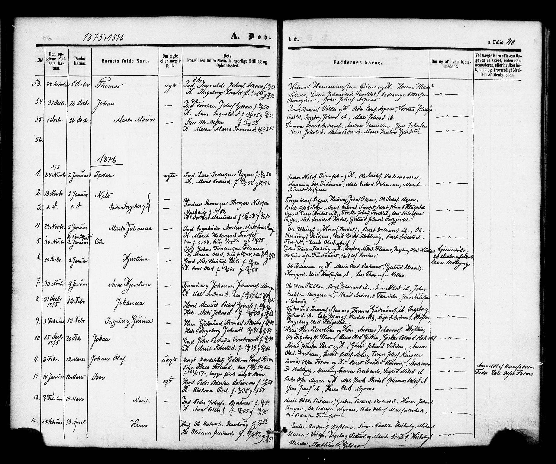 SAT, Ministerialprotokoller, klokkerbøker og fødselsregistre - Nord-Trøndelag, 706/L0041: Ministerialbok nr. 706A02, 1862-1877, s. 40