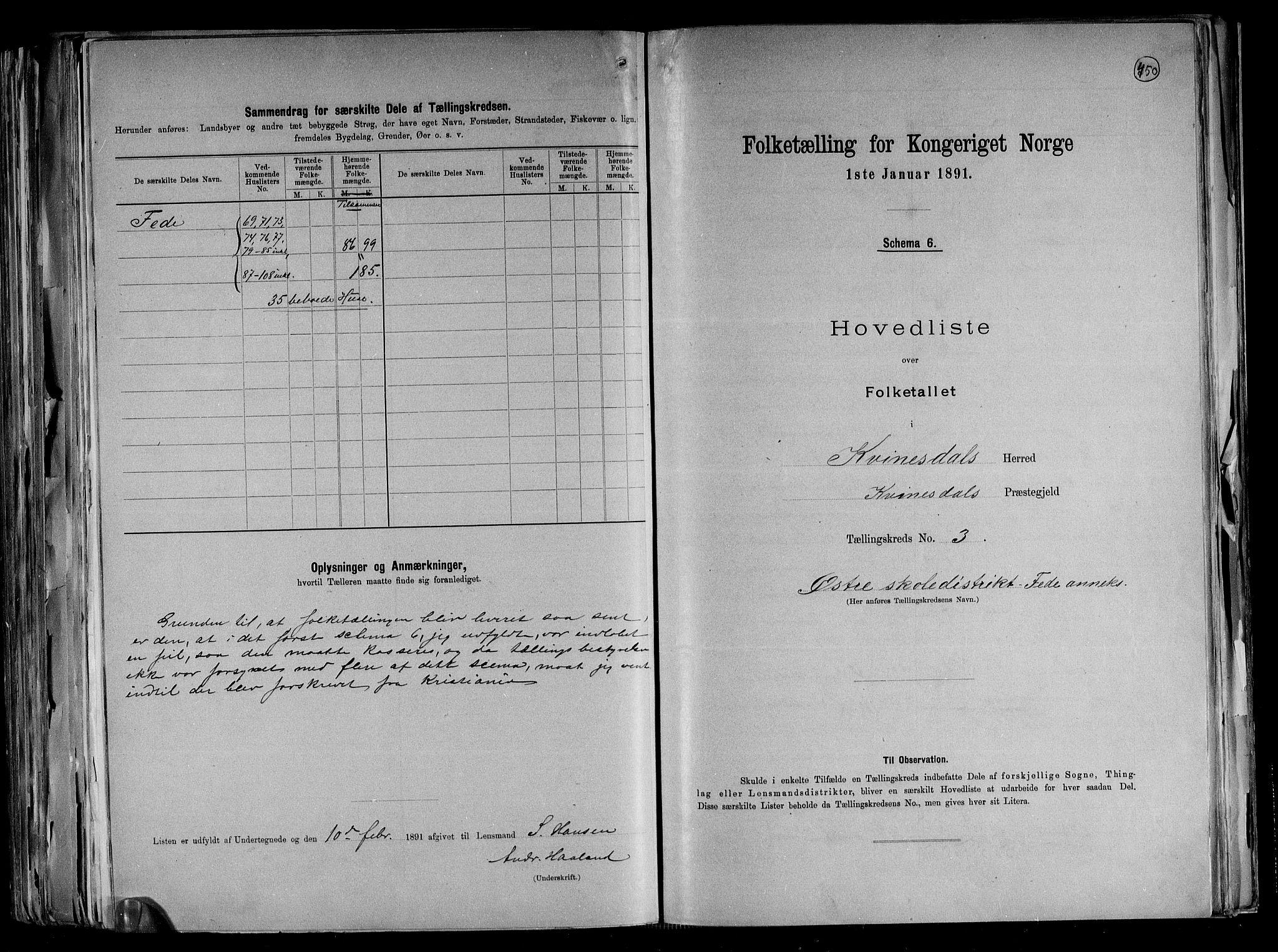 RA, Folketelling 1891 for 1037 Kvinesdal herred, 1891, s. 12