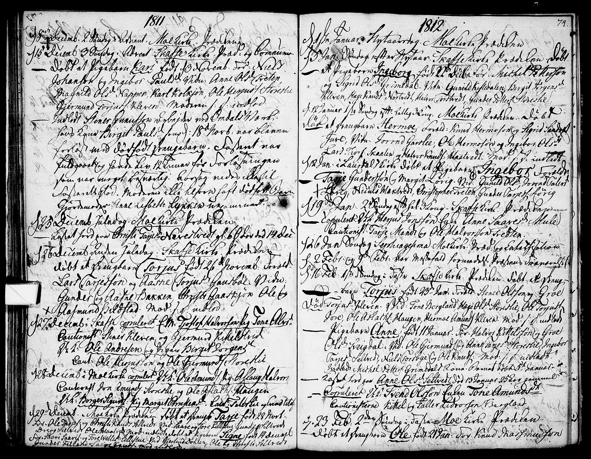 SAKO, Mo kirkebøker, F/Fa/L0003: Ministerialbok nr. I 3, 1800-1814, s. 74