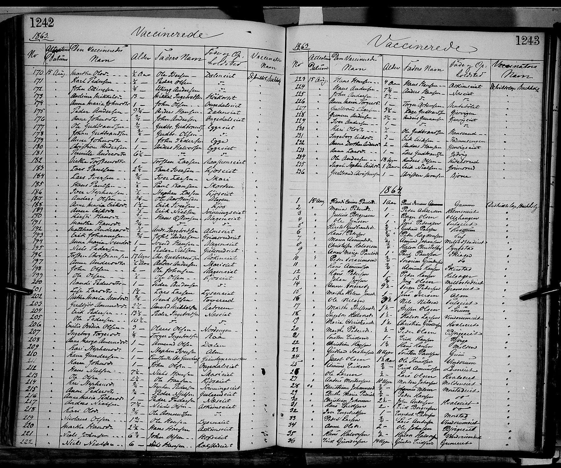 SAH, Gran prestekontor, Ministerialbok nr. 12, 1856-1874, s. 1242-1243