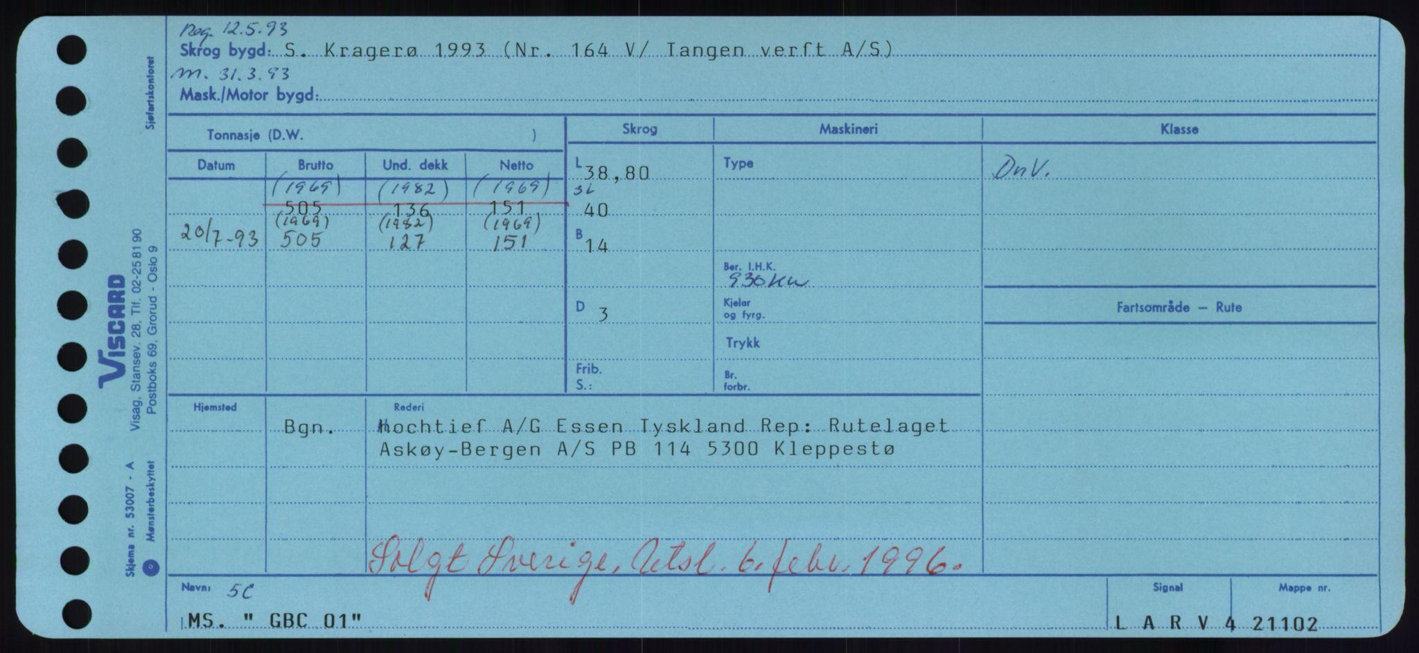 RA, Sjøfartsdirektoratet med forløpere, Skipsmålingen, H/Hd/L0012: Fartøy, G-Glø, s. 1