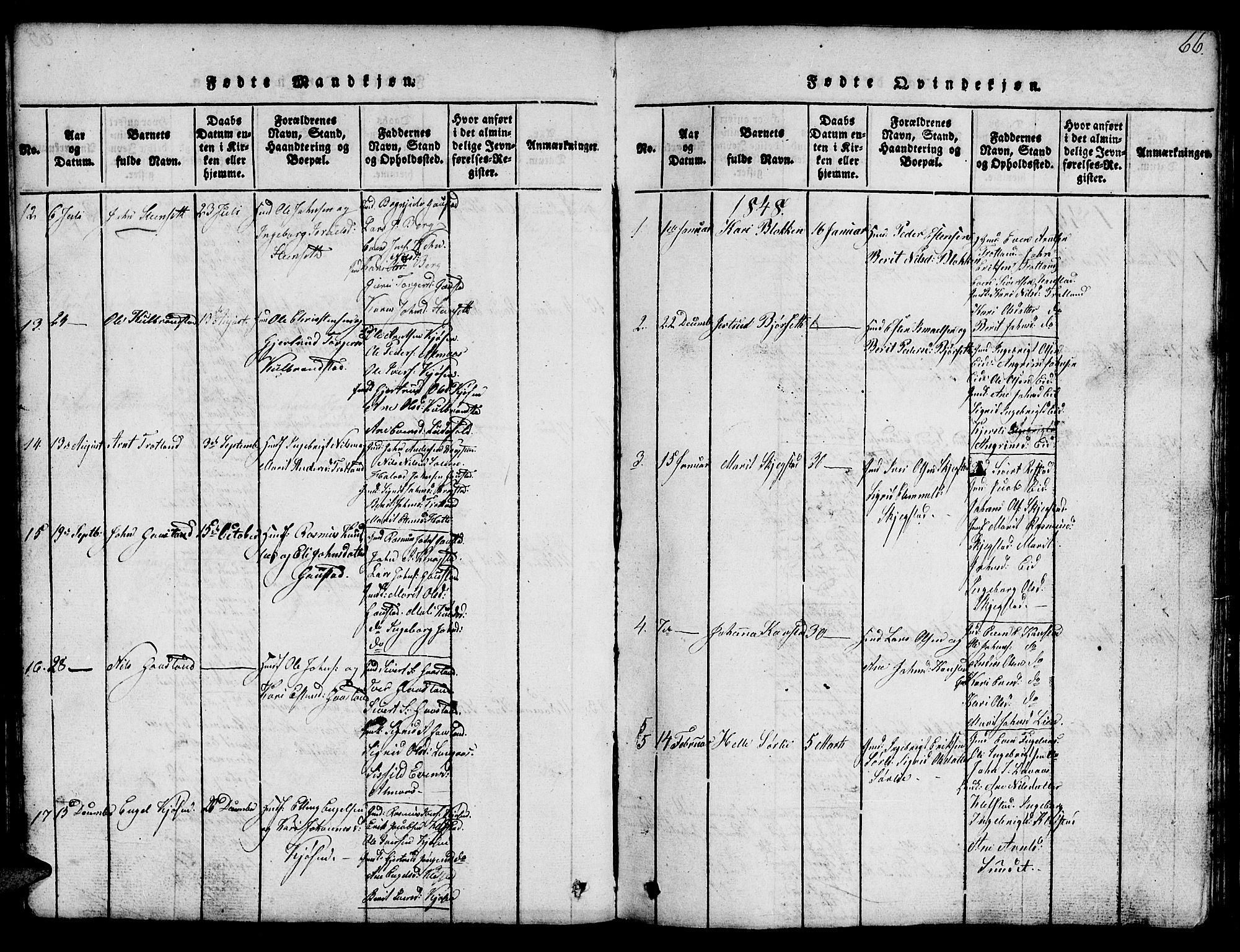 SAT, Ministerialprotokoller, klokkerbøker og fødselsregistre - Sør-Trøndelag, 694/L1130: Klokkerbok nr. 694C02, 1816-1857, s. 66