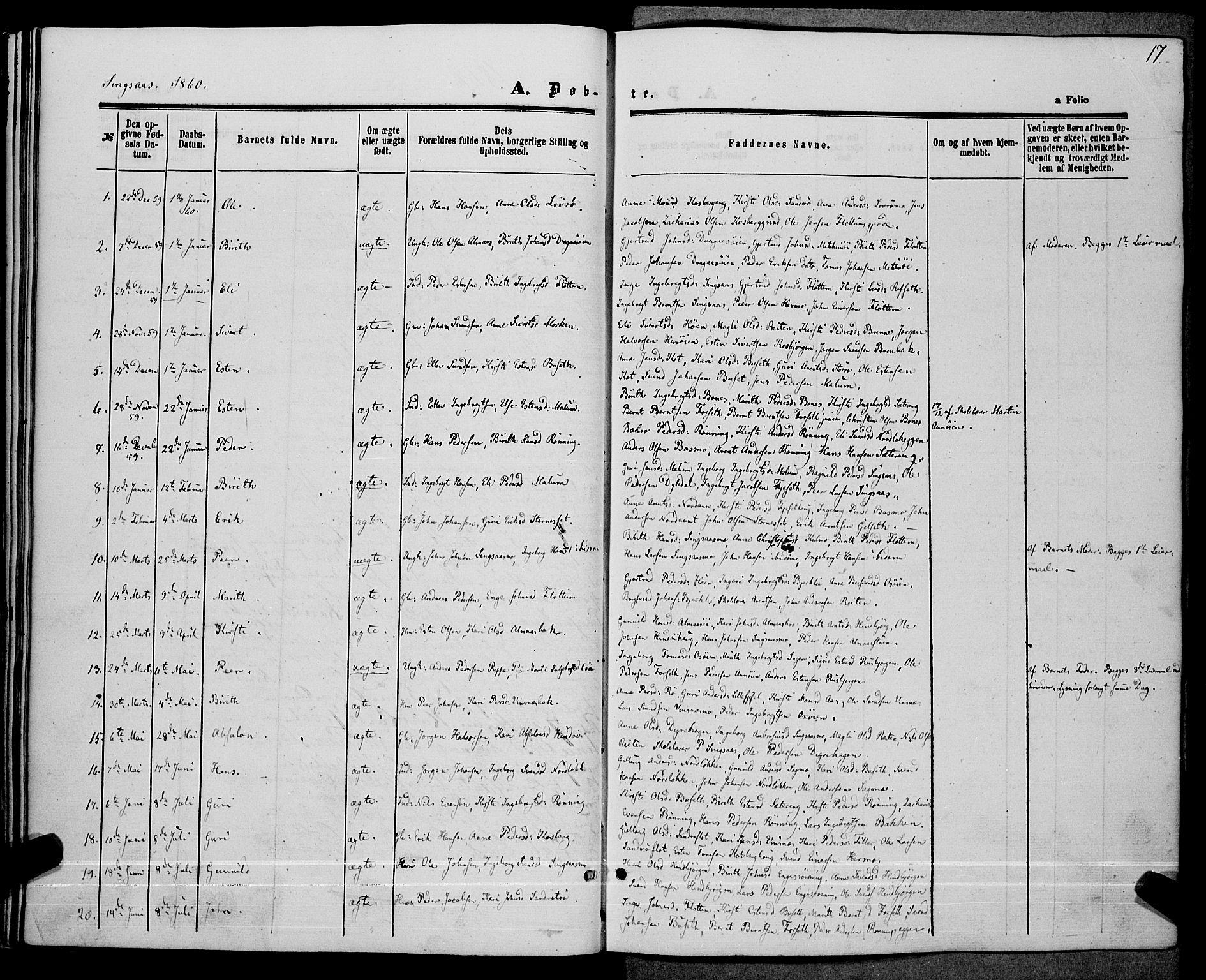 SAT, Ministerialprotokoller, klokkerbøker og fødselsregistre - Sør-Trøndelag, 685/L0967: Ministerialbok nr. 685A07 /2, 1860-1869, s. 17