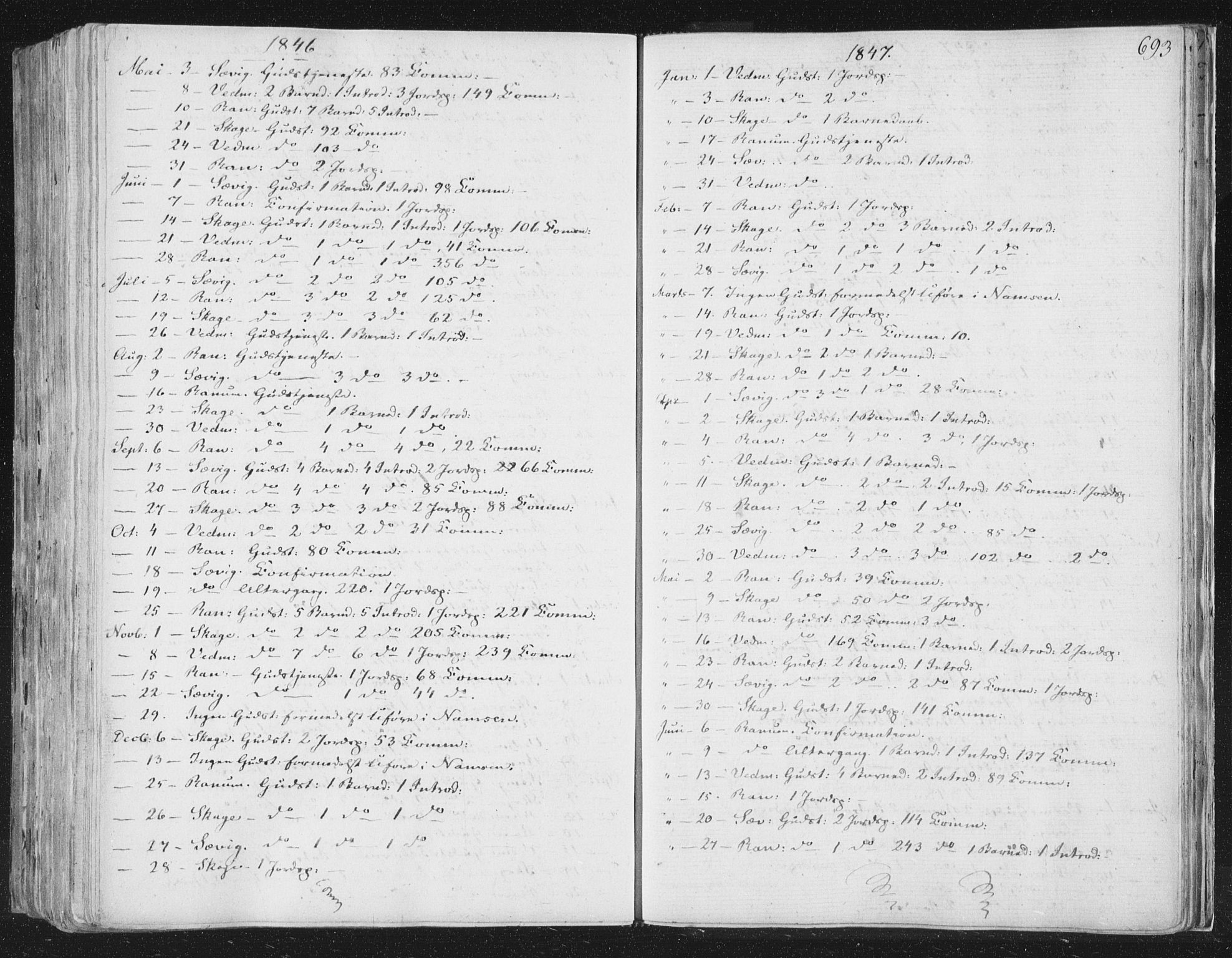 SAT, Ministerialprotokoller, klokkerbøker og fødselsregistre - Nord-Trøndelag, 764/L0552: Ministerialbok nr. 764A07b, 1824-1865, s. 693