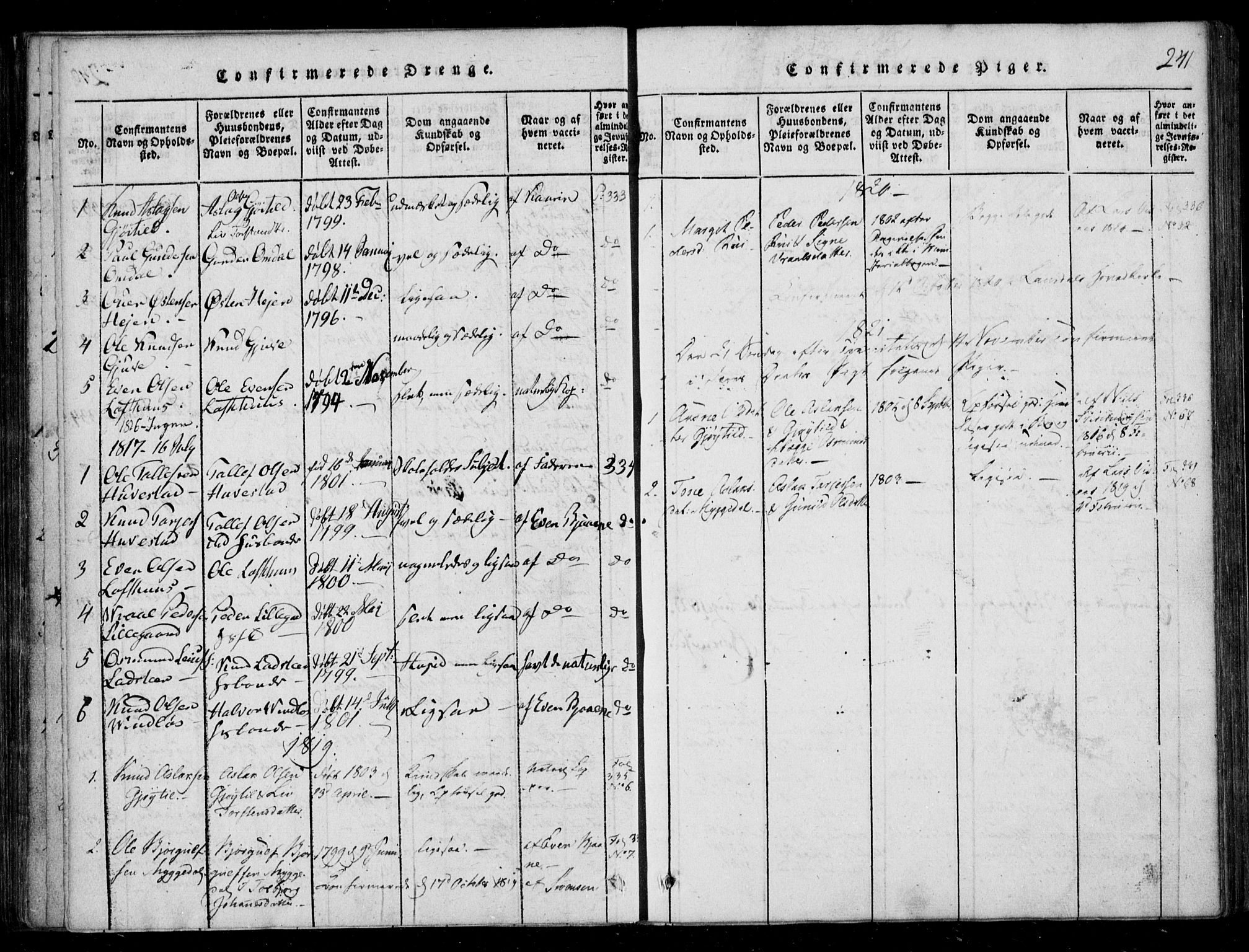 SAKO, Lårdal kirkebøker, F/Fb/L0001: Ministerialbok nr. II 1, 1815-1860, s. 241