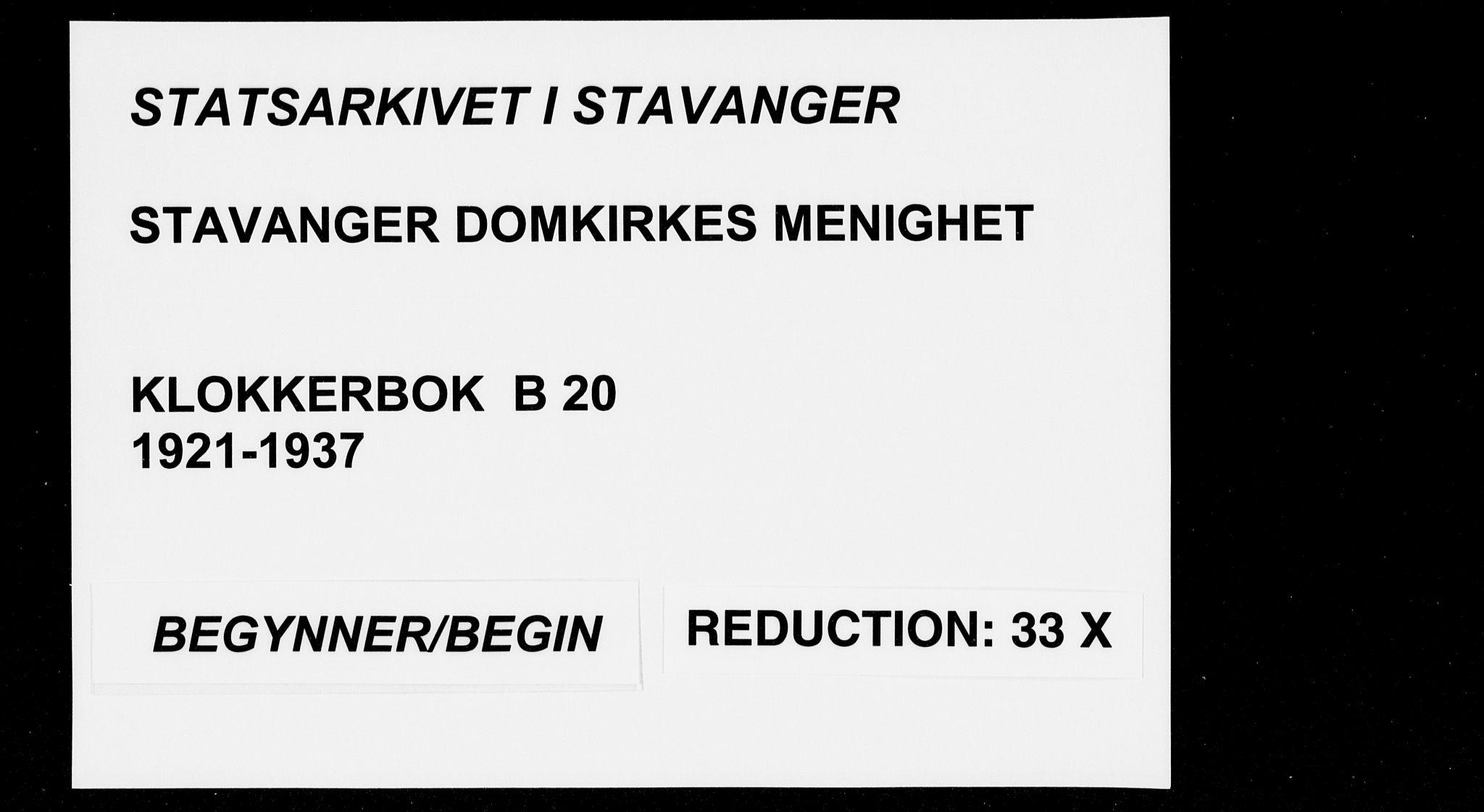 SAST, Domkirken sokneprestkontor, 30/30BB/L0020: Klokkerbok nr. B 20, 1921-1937