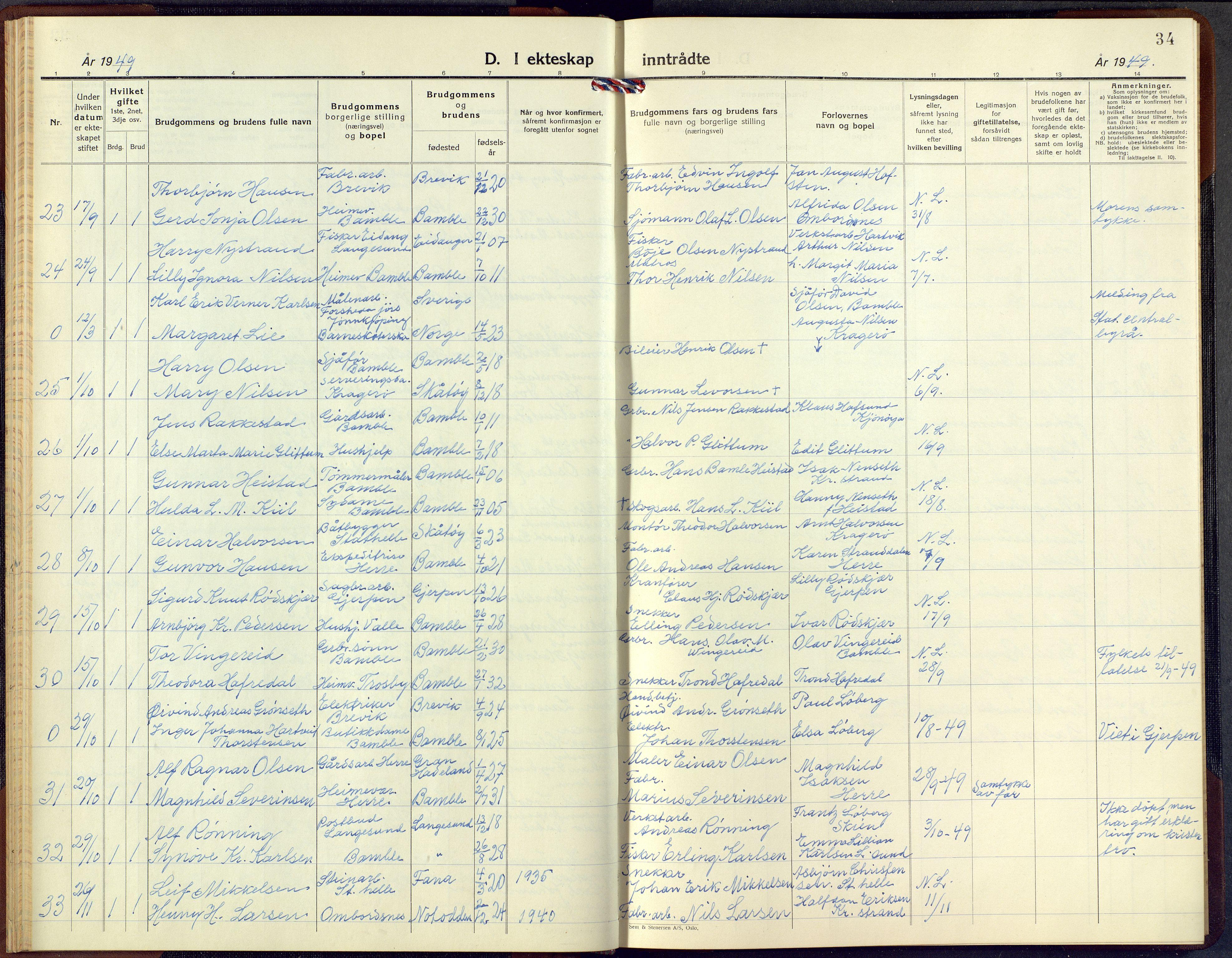 SAKO, Bamble kirkebøker, G/Ga/L0013: Klokkerbok nr. I 13, 1941-1949, s. 34