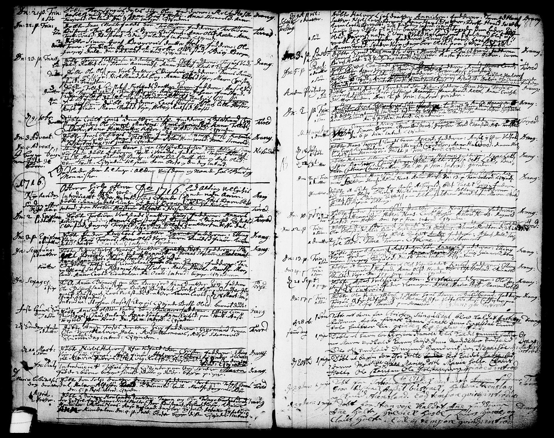 SAKO, Drangedal kirkebøker, F/Fa/L0001: Ministerialbok nr. 1, 1697-1767, s. 81