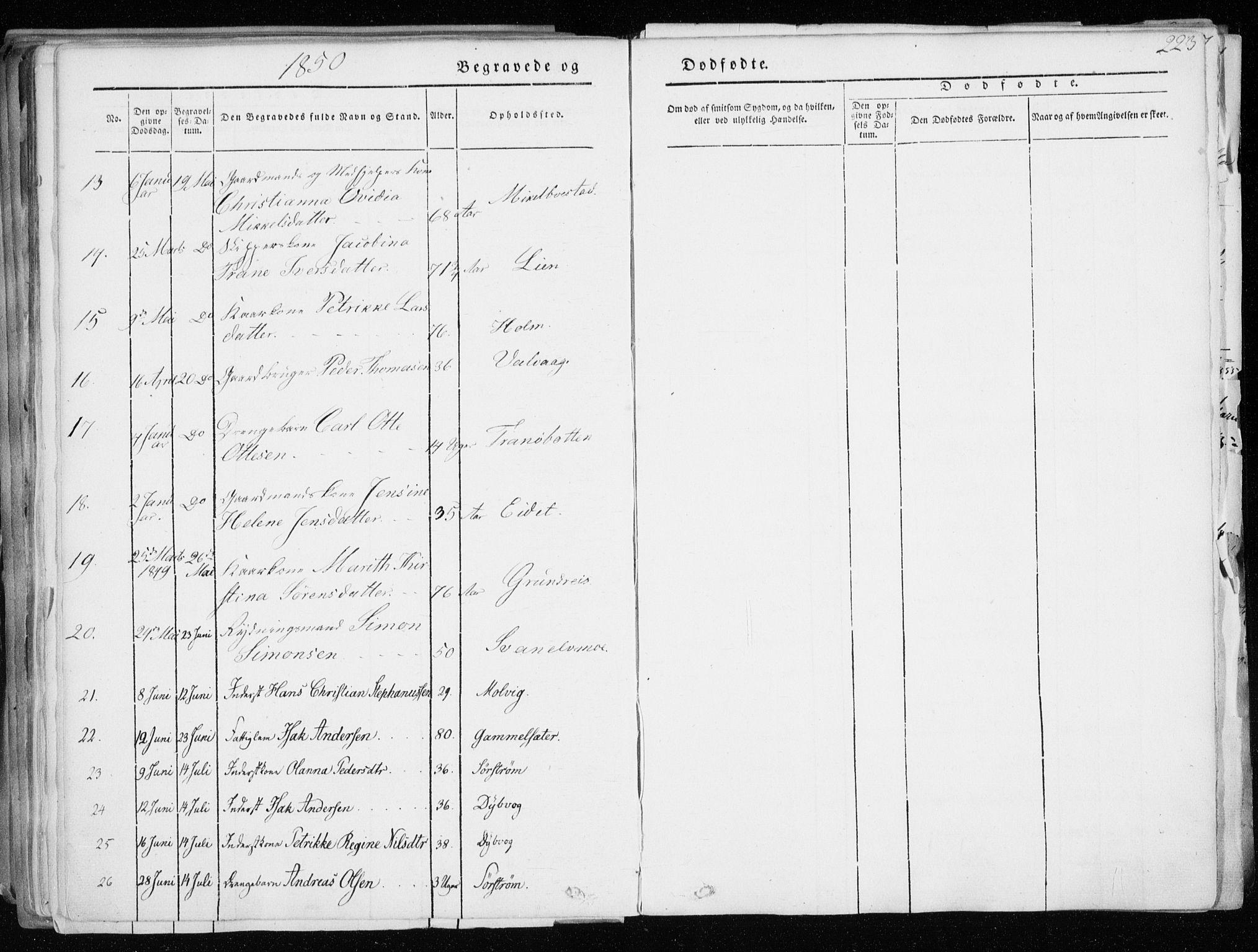 SATØ, Tranøy sokneprestkontor, I/Ia/Iaa/L0006kirke: Ministerialbok nr. 6, 1844-1855, s. 223