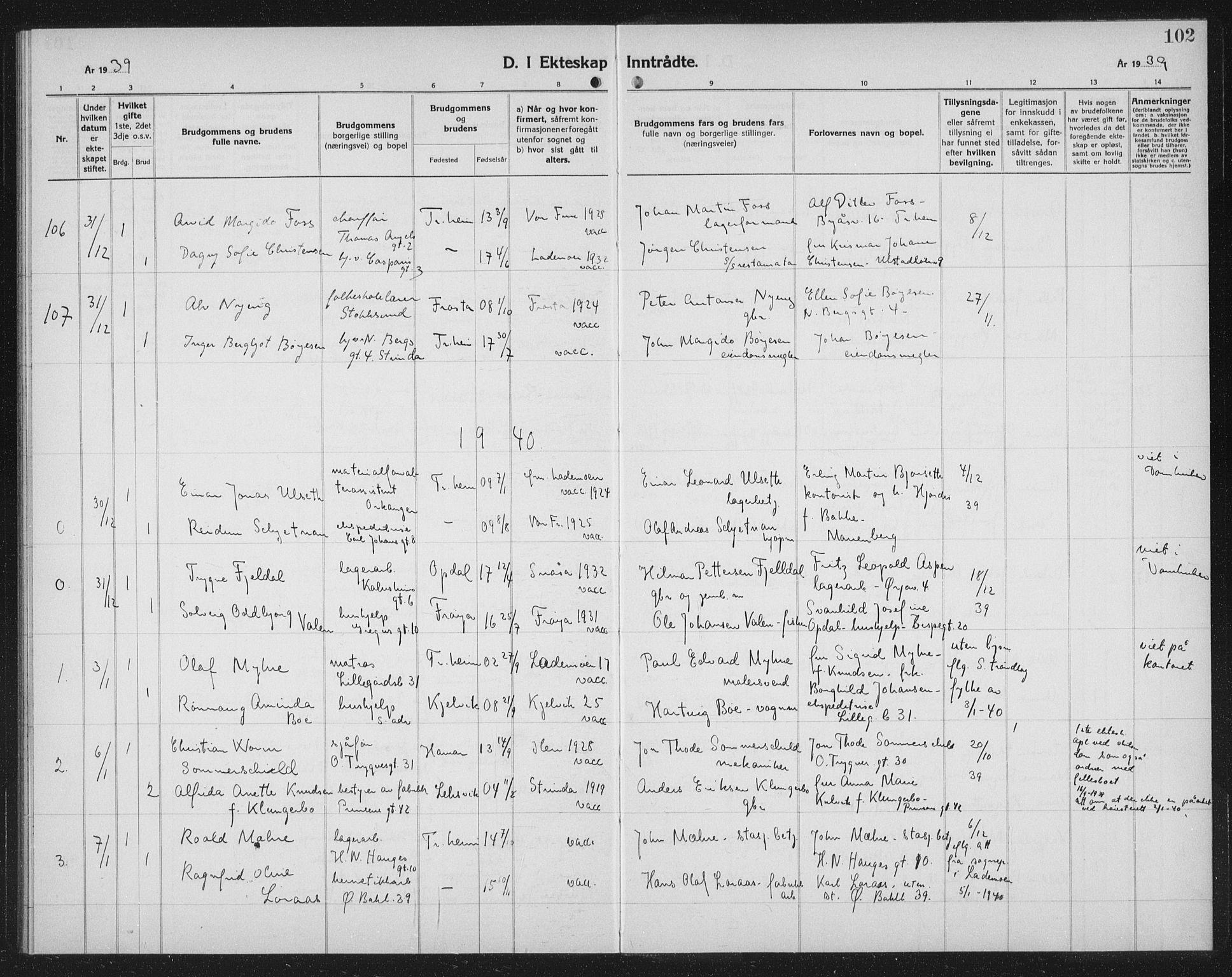 SAT, Ministerialprotokoller, klokkerbøker og fødselsregistre - Sør-Trøndelag, 602/L0152: Klokkerbok nr. 602C20, 1933-1940, s. 102