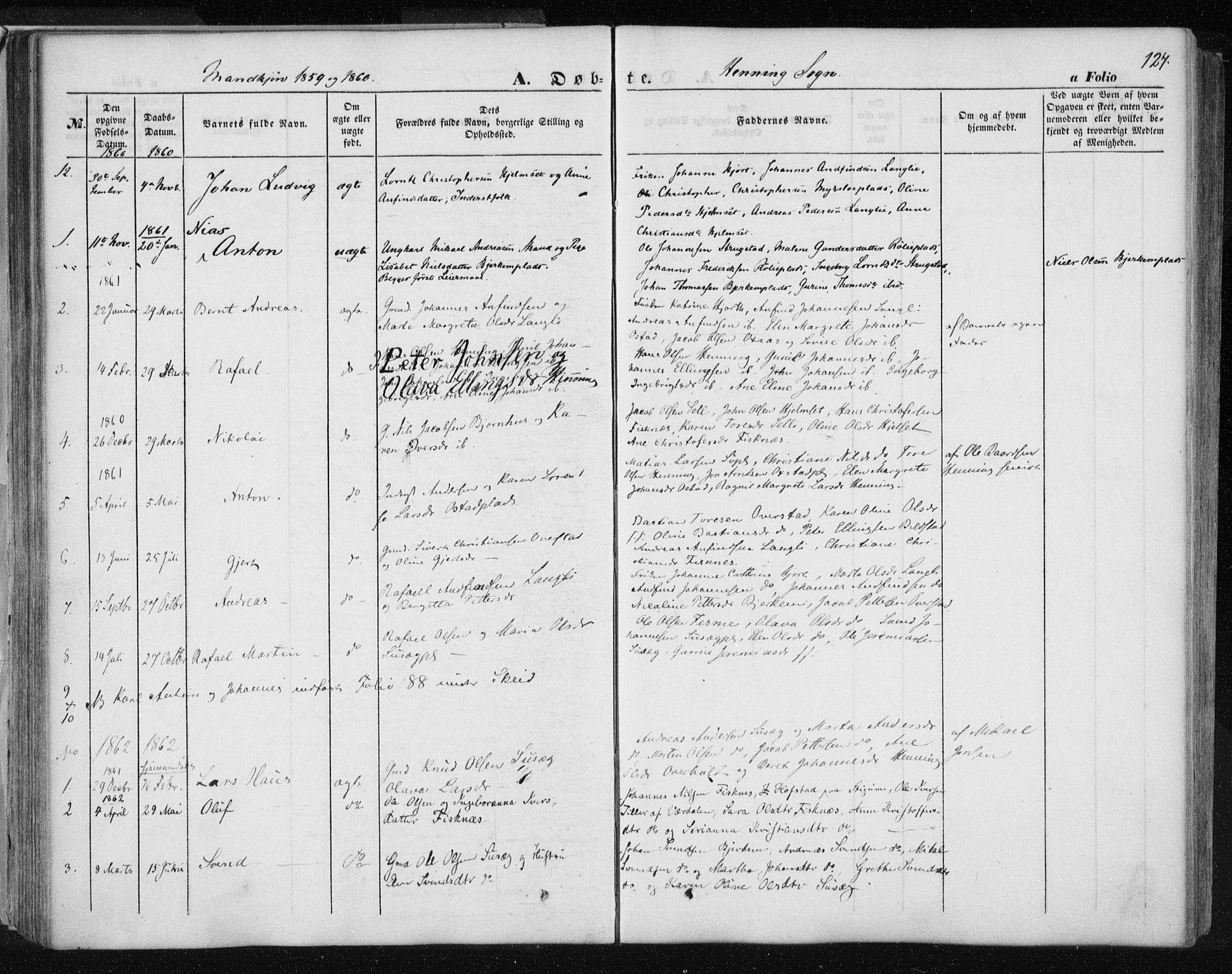 SAT, Ministerialprotokoller, klokkerbøker og fødselsregistre - Nord-Trøndelag, 735/L0342: Ministerialbok nr. 735A07 /3, 1849-1862, s. 124