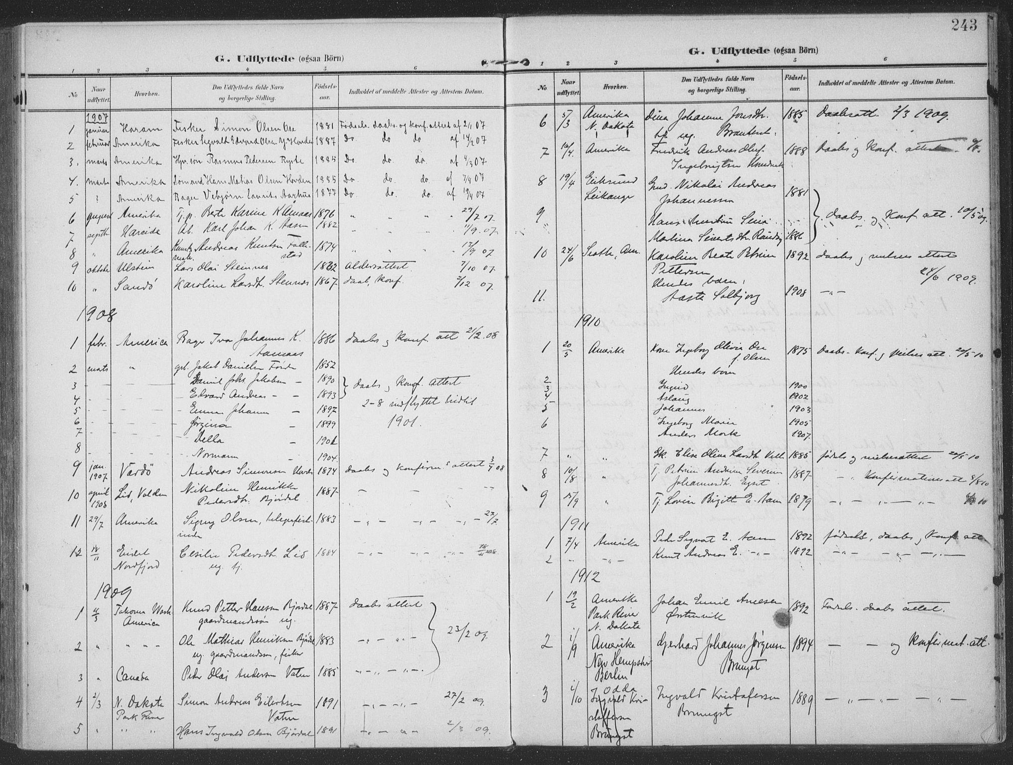 SAT, Ministerialprotokoller, klokkerbøker og fødselsregistre - Møre og Romsdal, 513/L0178: Ministerialbok nr. 513A05, 1906-1919, s. 243