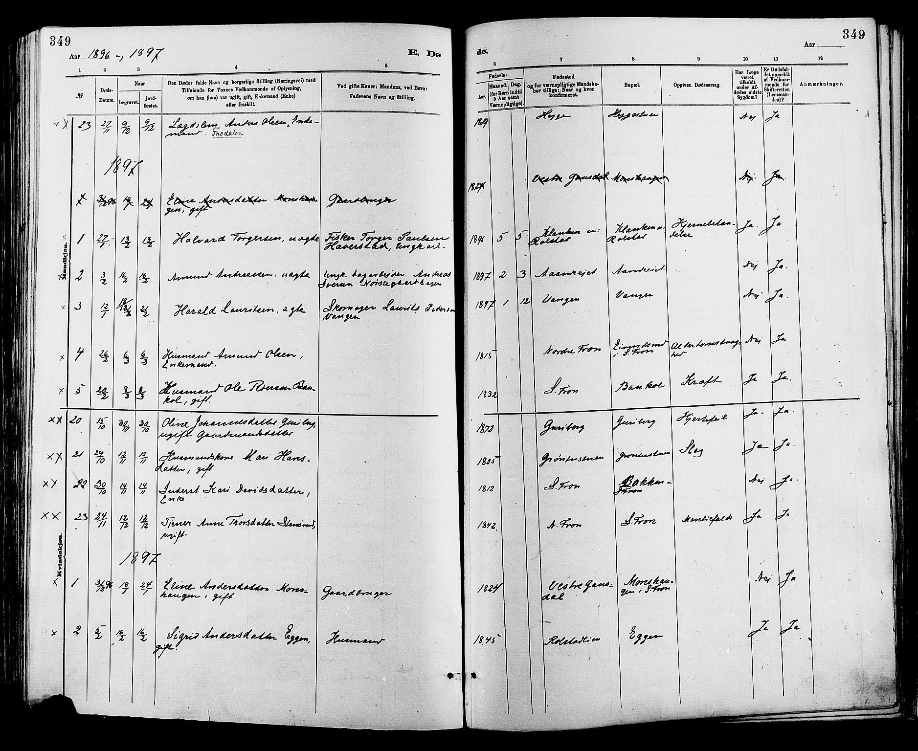 SAH, Sør-Fron prestekontor, H/Ha/Haa/L0003: Ministerialbok nr. 3, 1881-1897, s. 349