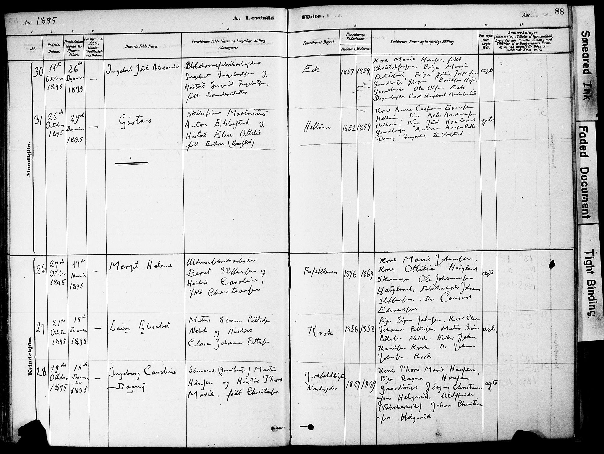 SAKO, Strømm kirkebøker, F/Fa/L0004: Ministerialbok nr. I 4, 1878-1899, s. 88